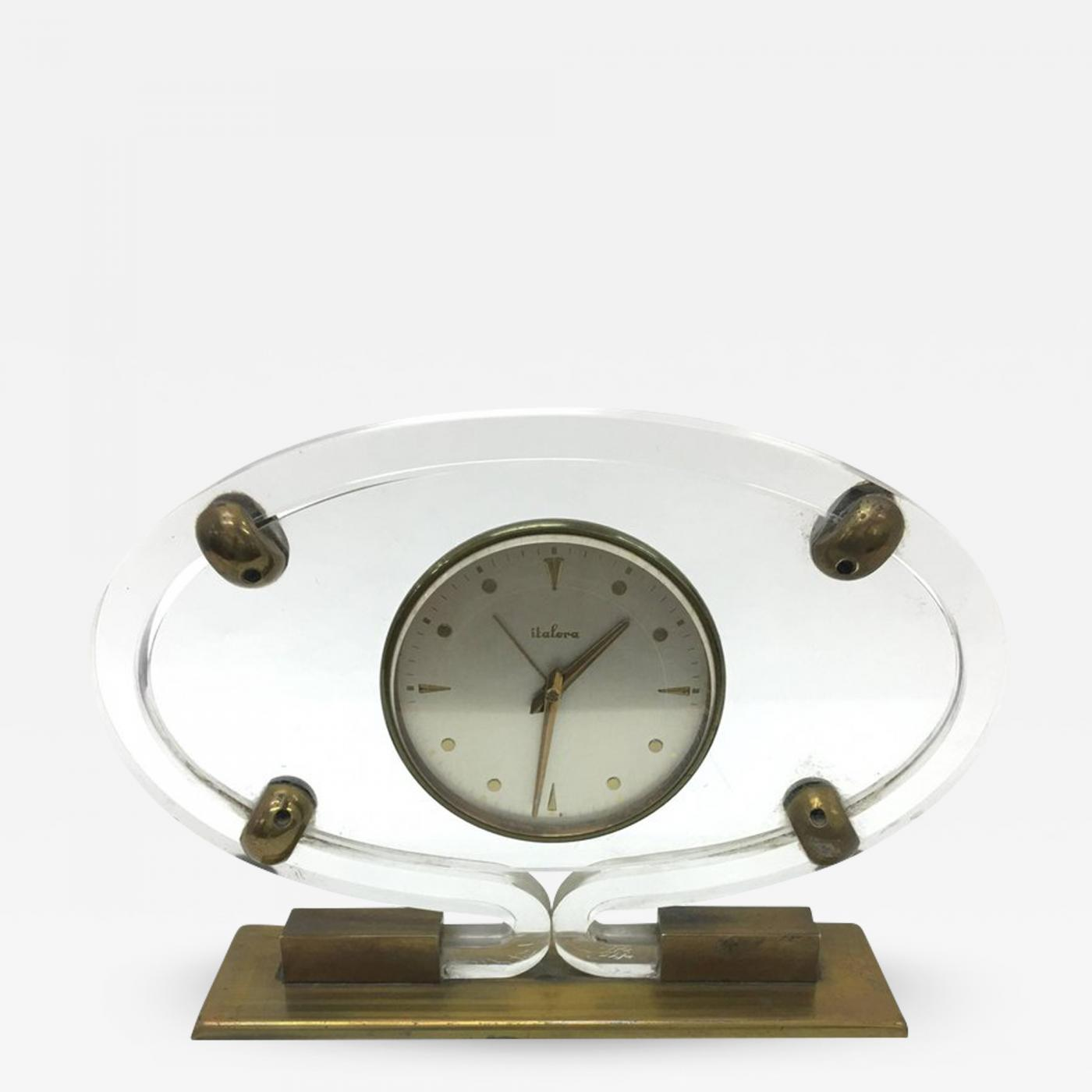 Mid-Century Modern Italian Plexiglass and brass Table Clock by Italora 1950