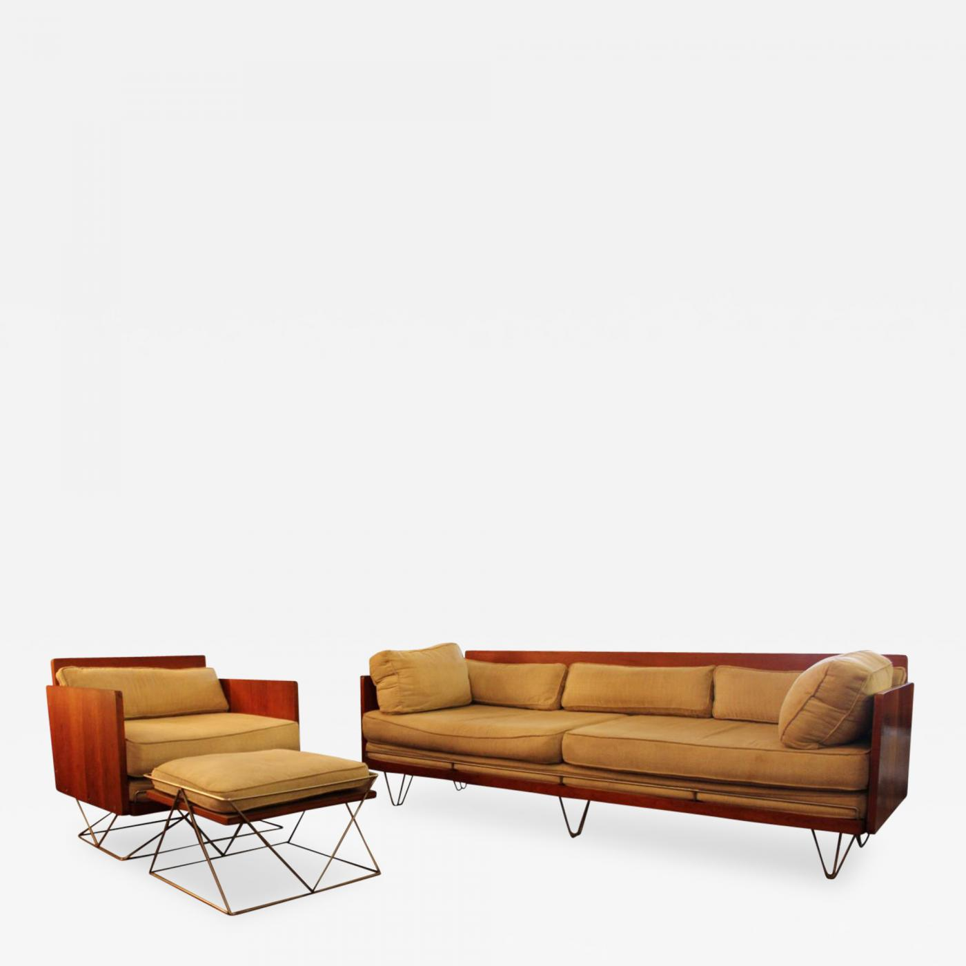 Furniture Legs For Ottomans mid century modern walnut encased sofa chair & ottoman hairpin