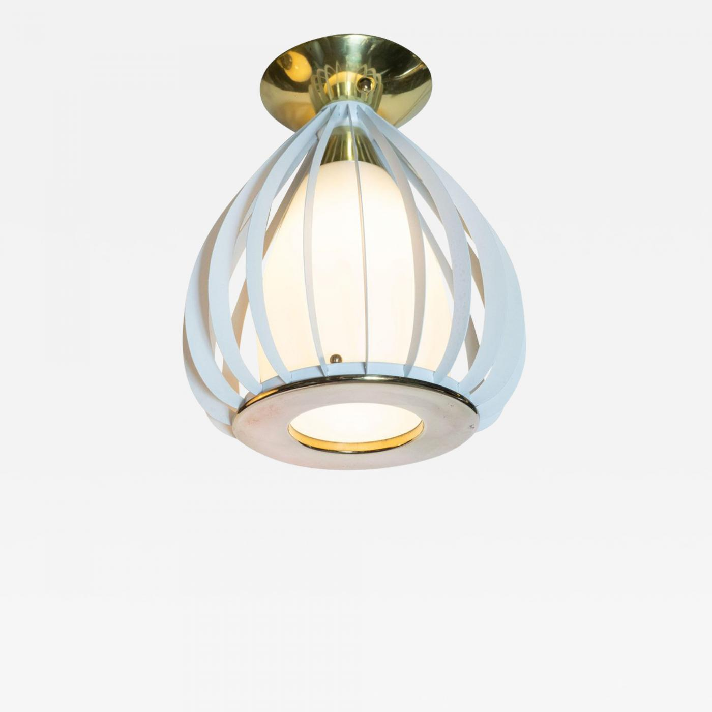 Mid Century Modern White Enamel Brass And Frosted Glass Lantern Chandelier