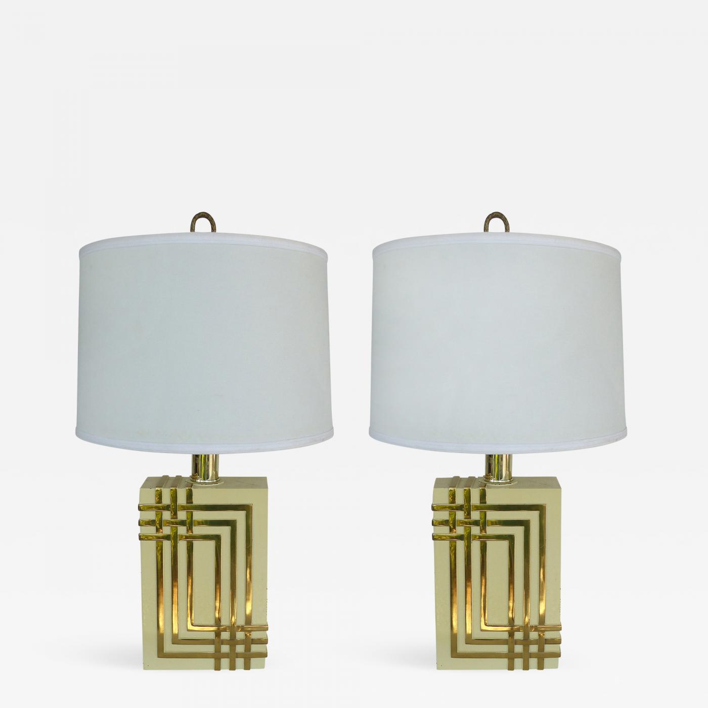 Mid Century Modern Brass Table Lamps With Drum Shades
