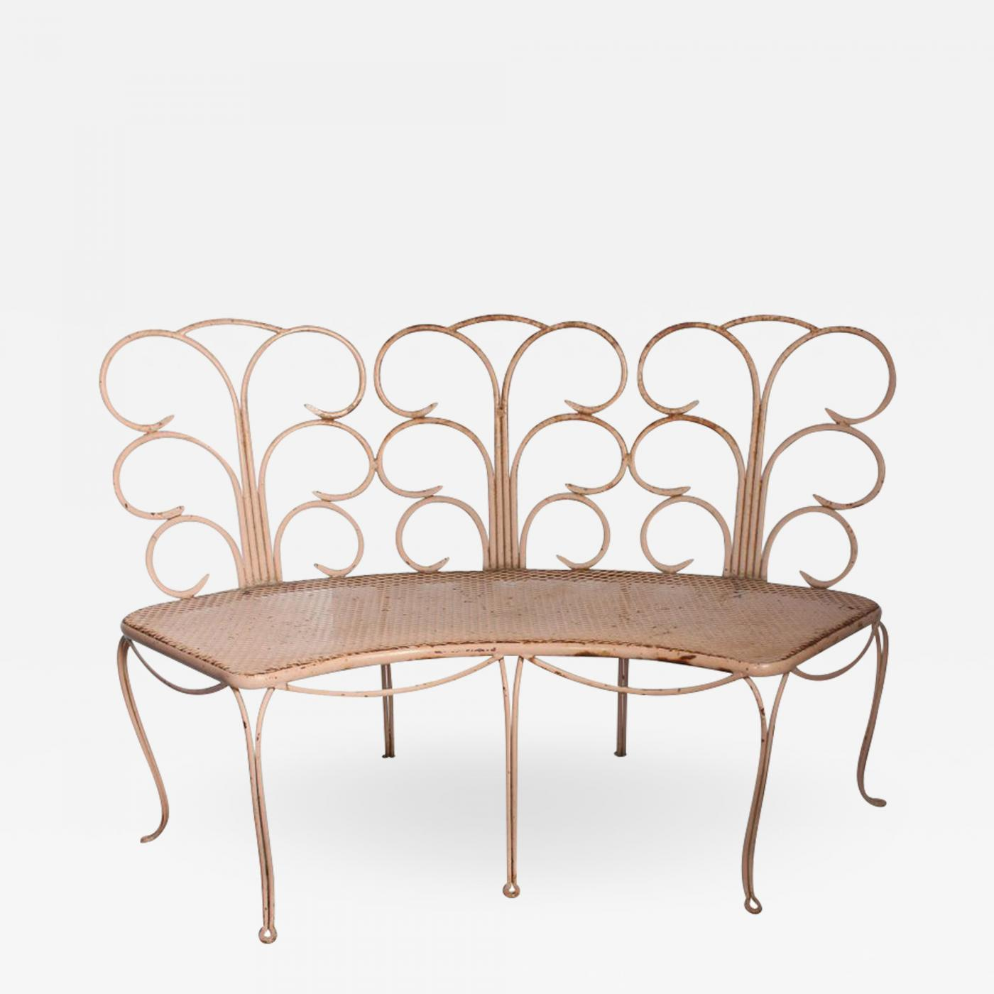 Astonishing Midcentury French Wrought Iron Garden Bench Two Available Beatyapartments Chair Design Images Beatyapartmentscom