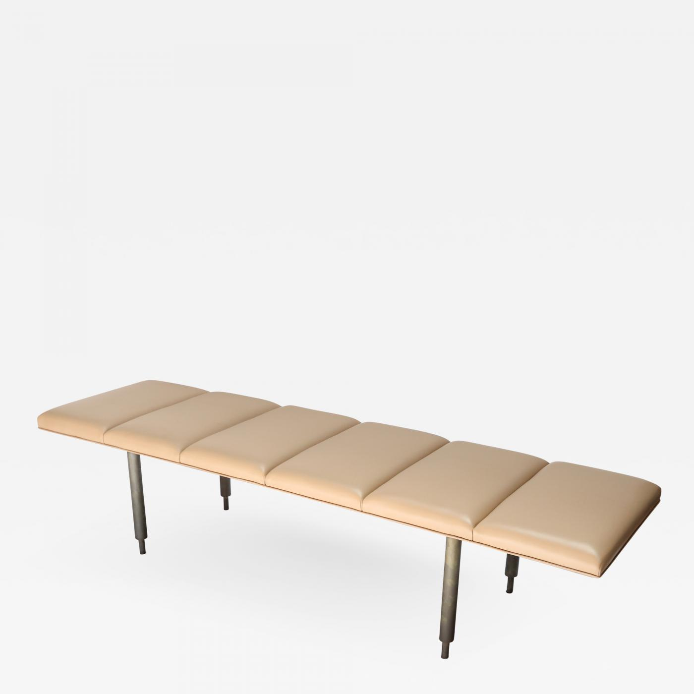 Adesso Studio Custom Milano Metal Bench With Leather Seat