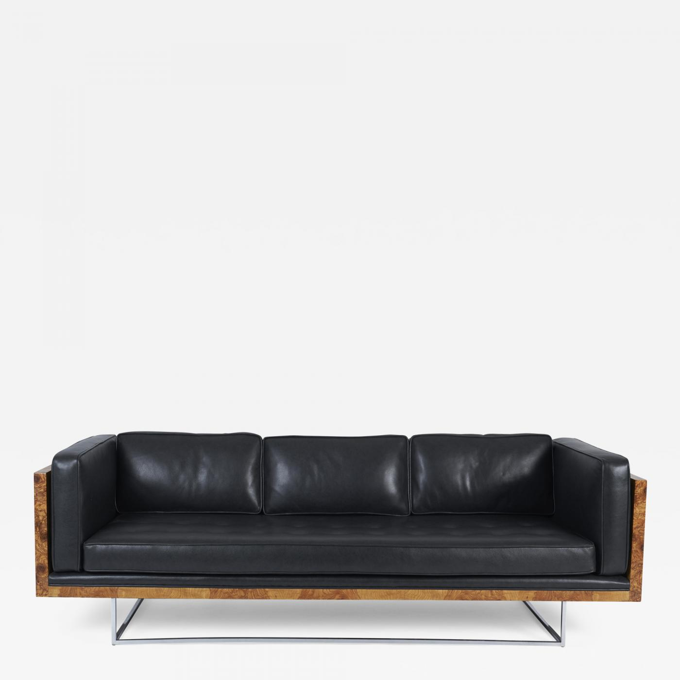 Milo Baughman - Burl Wood and Leather Case Sofa on Chrome Frame by Milo  Baughman