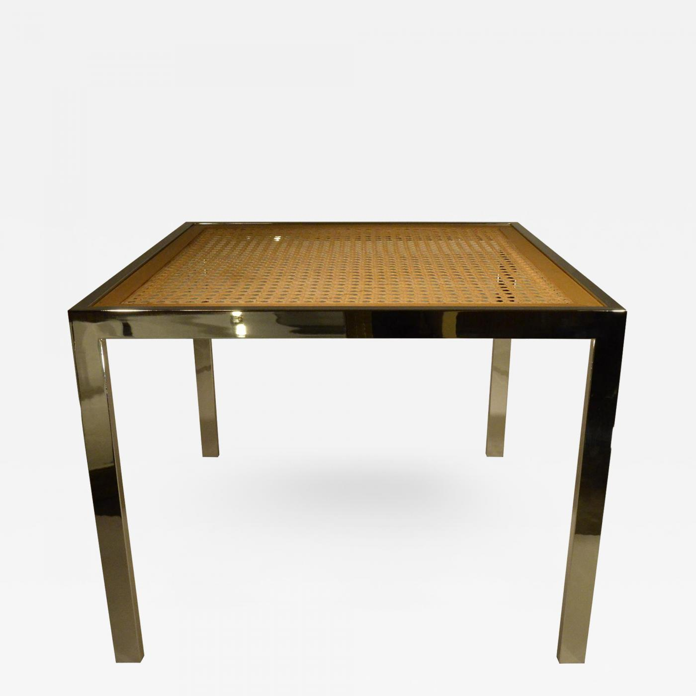 Milo Baughman Mid Century Modern Chrome Glass Wicker Game Dining Table
