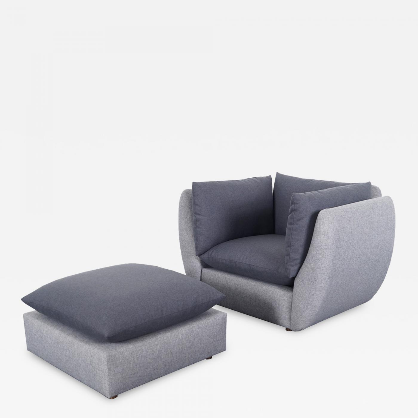 Milo Baughman Mid Century Modern Lounge Chair Ottoman