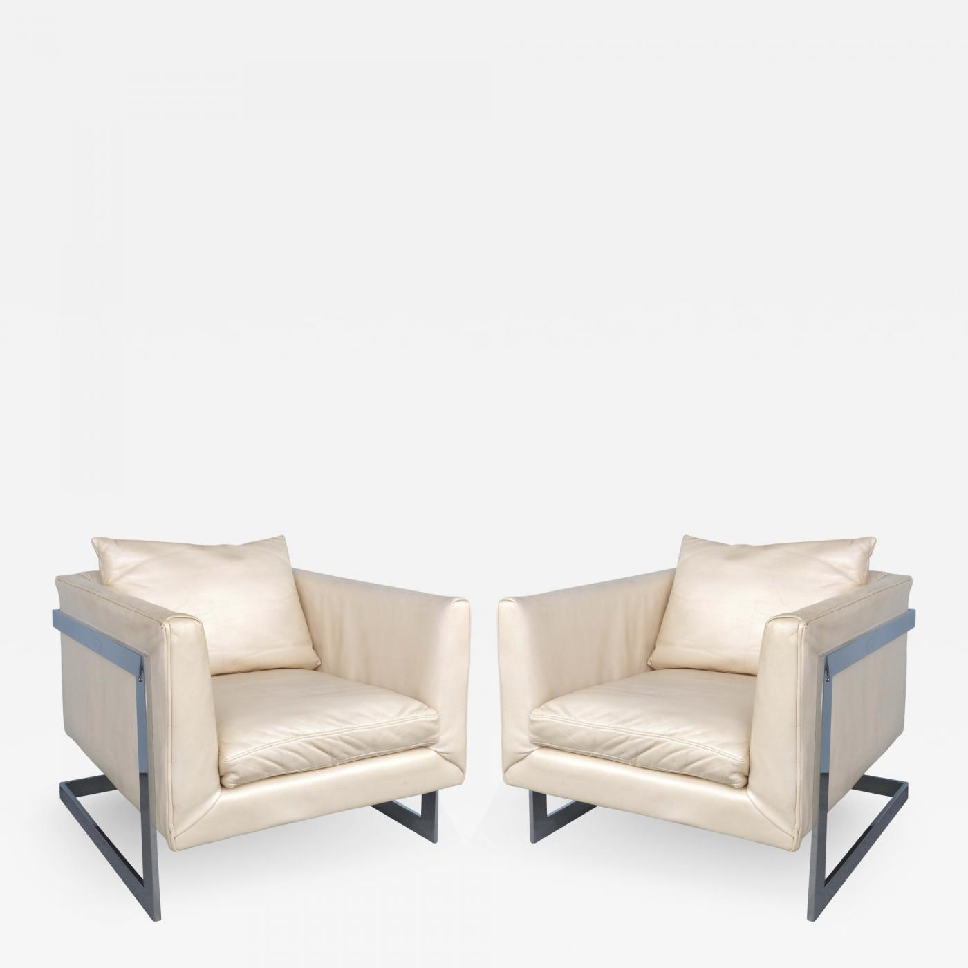 2ddd4fc3497dd Mid-century Milo Baughman Cantilevered Chrome   Ivory Leather Club Chairs