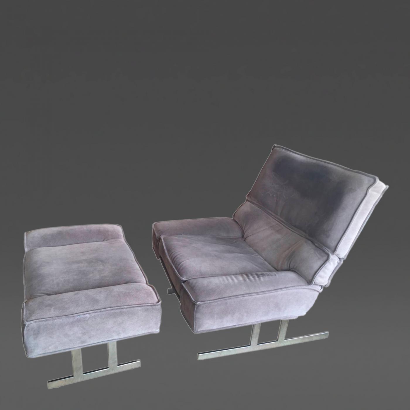 Milo Baughman Oversized Milo Baughman Reclining Lounge Chair and Ottoman