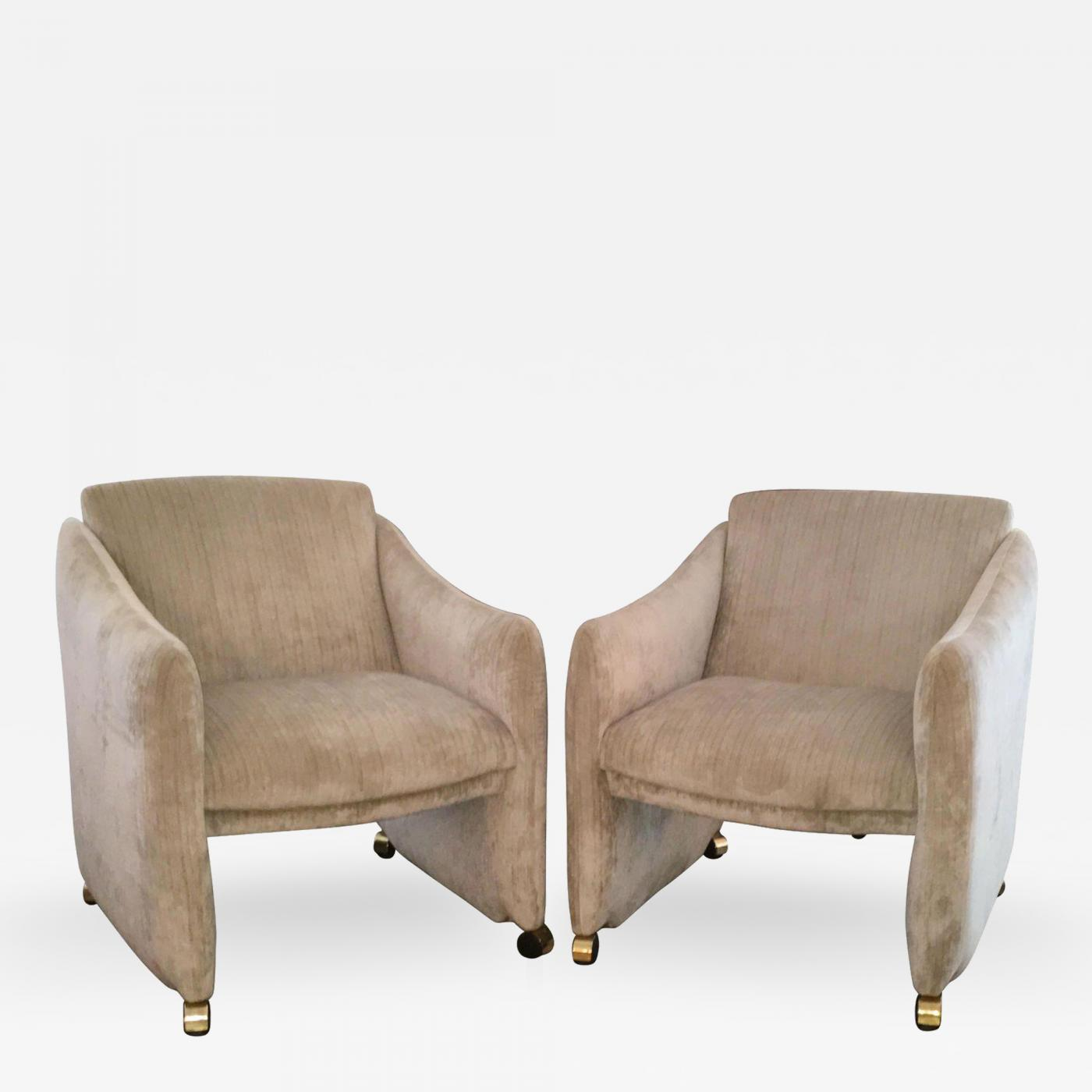 Milo Baughman Pair of Mid Century Modern Velvet Lounge Chairs on