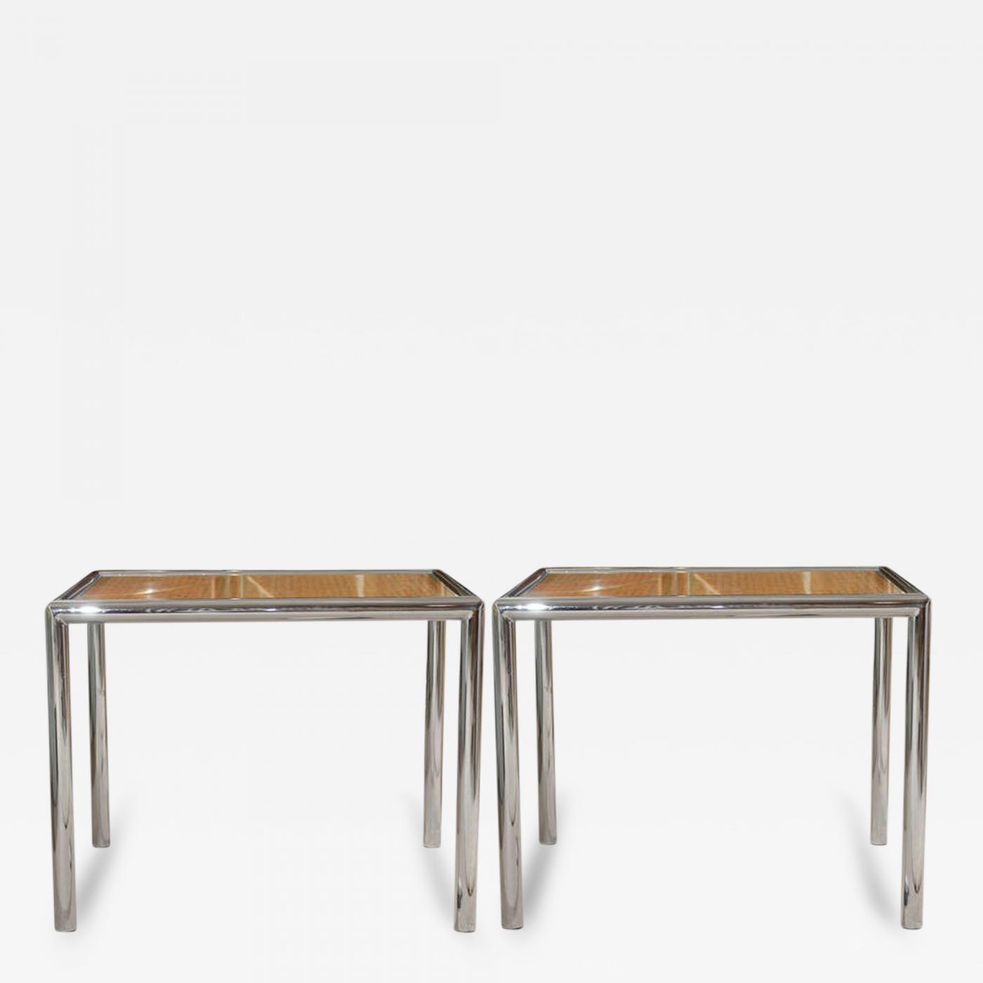 Milo Baughman Pair of Milo Baughman Cane Chrome End or Side Tables