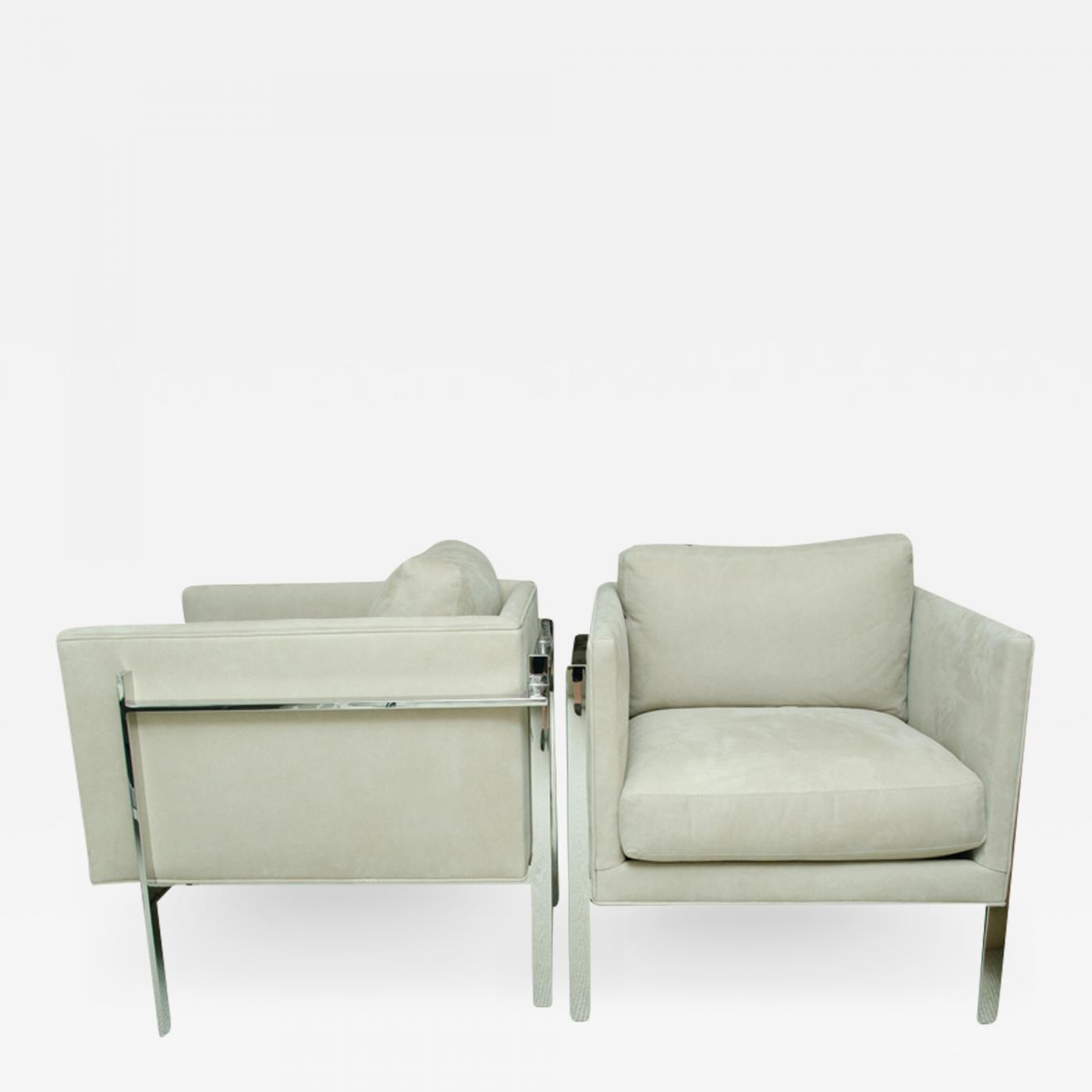 Milo Baughman - Pair of Milo Baughman Chrome Arm Chairs with Leather Suede  Upholstery