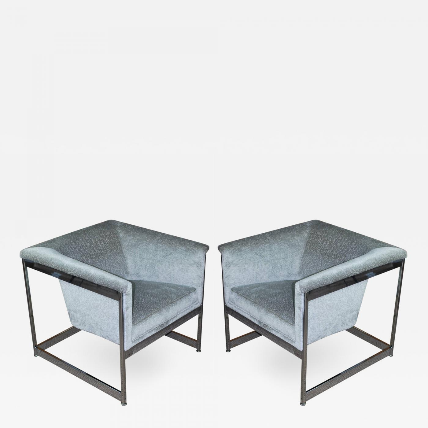 "Milo Baughman Pair of Milo Baughman ""Cube"" Chairs 1960s"