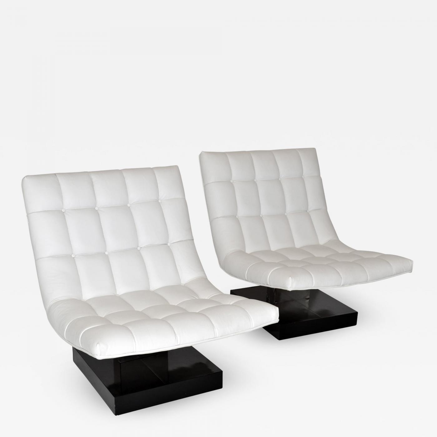 Marvelous Milo Baughman Pair Of Milo Baughman Leather Scoop Lounge Chairs For Thayer Coggin 1980S Uwap Interior Chair Design Uwaporg