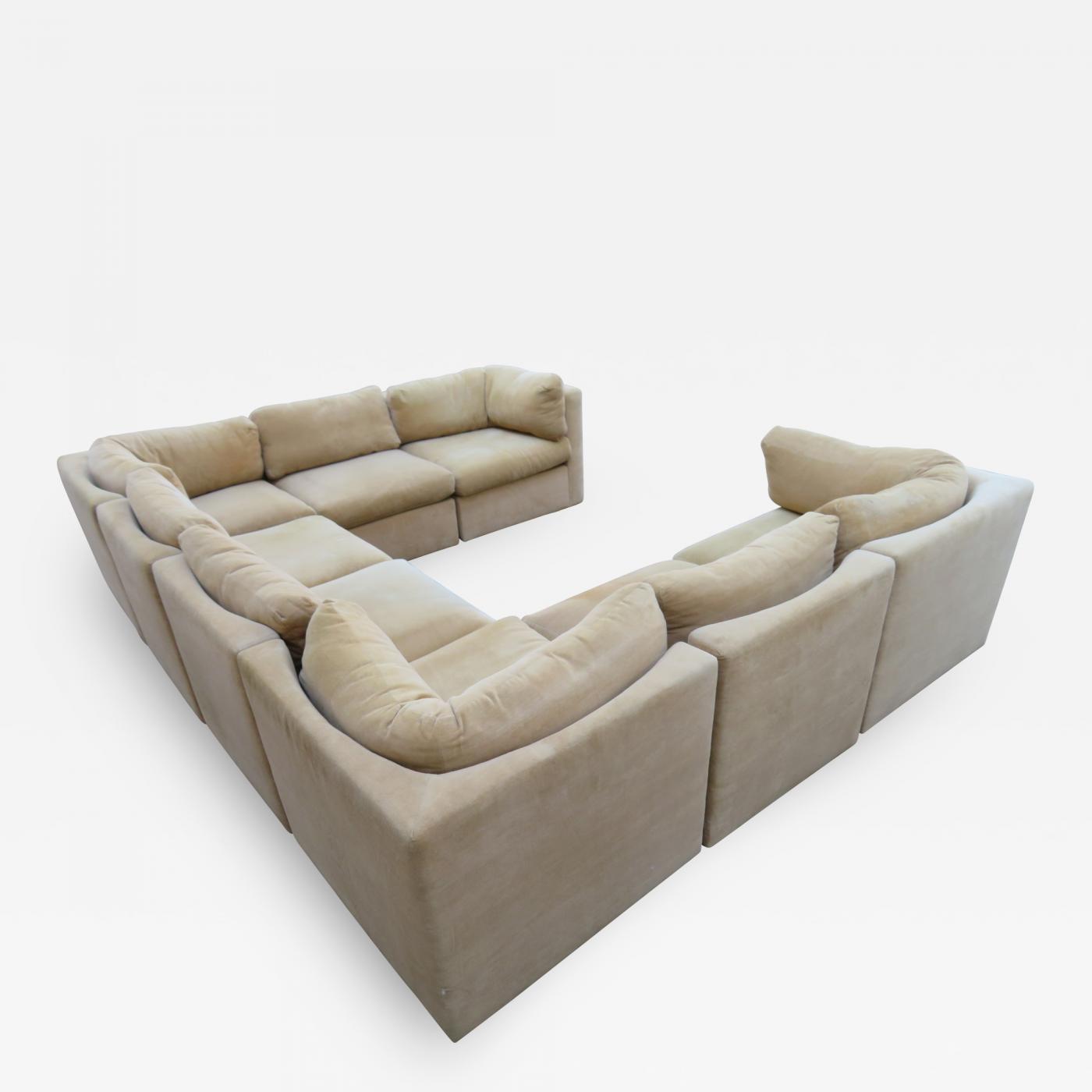 Milo Baughman - Wonderful 8 Piece Milo Baughman Curved Seat Sectional Sofa  Mid-Century Modern