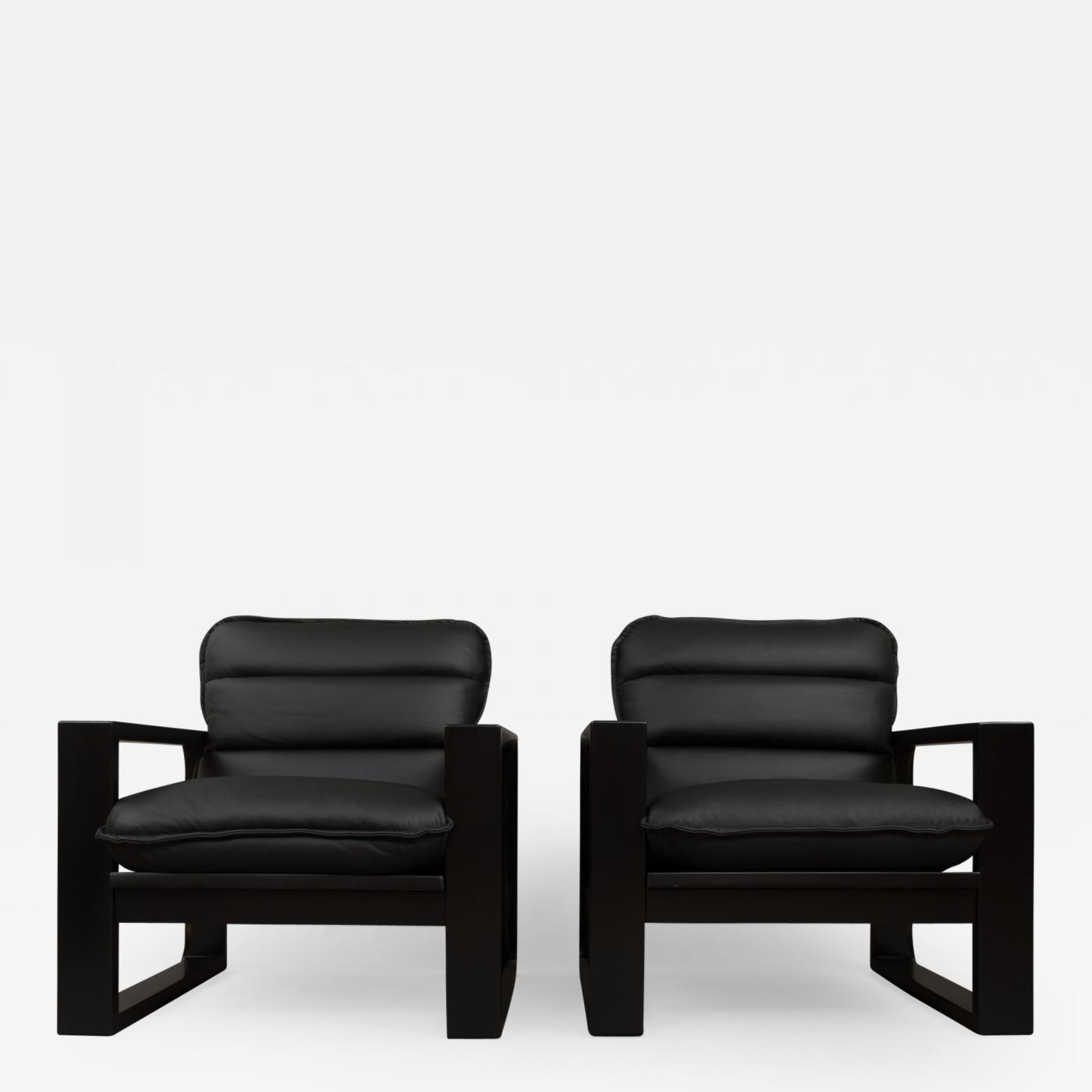 Miroslav Navratil Black Wood And Leather Lounge Chairs