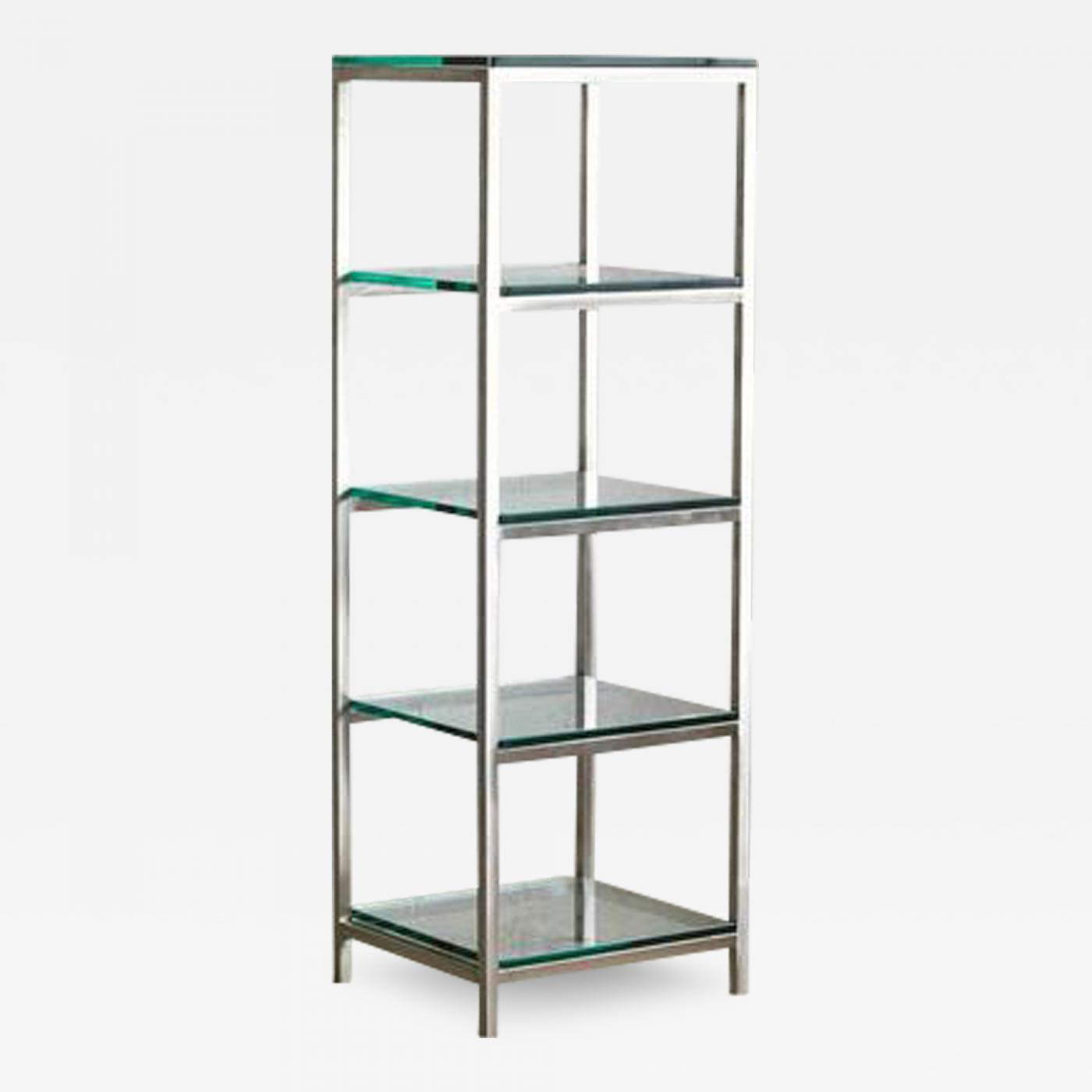 Amazing Modern Brushed Aluminium Etagere Or Display With Five Thick Glass Shelves Home Interior And Landscaping Ferensignezvosmurscom