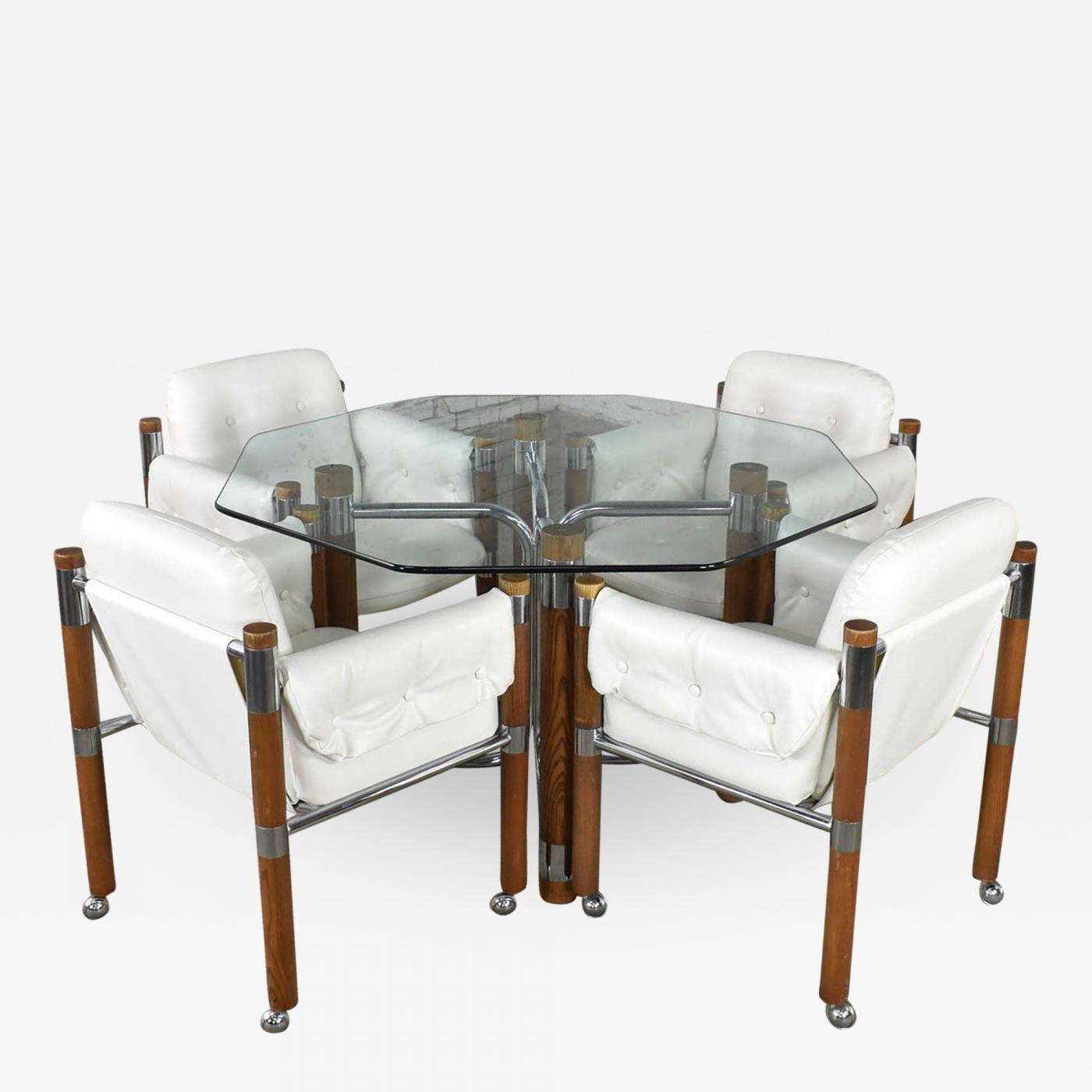 Modern Game Table Or Dining Table Glass Chrome Oak With 4 White Rolling Chairs