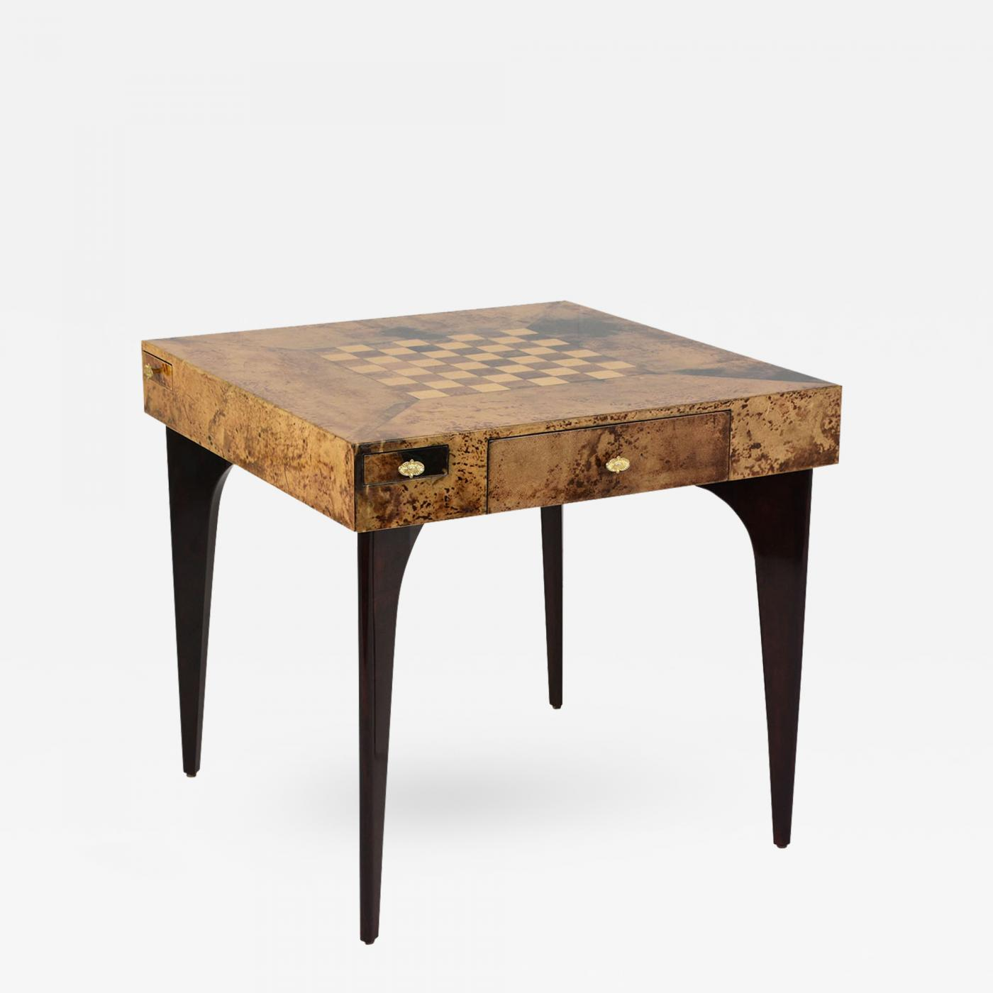 Modern Style Burl Wood Veneer Game Table By Aldo Tura