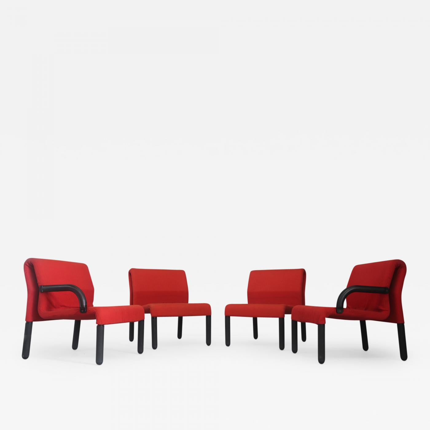 Marvelous Modular Italian Sofa Chairs In Red Fabric And Polyurethane 1980S Bralicious Painted Fabric Chair Ideas Braliciousco