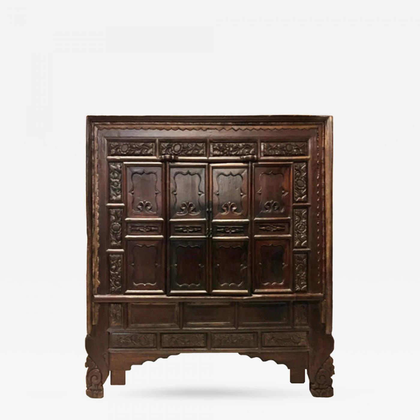Monumental Chinese Antique Cabinet with Carved Front - Chinese Antique Cabinet With Carved Front