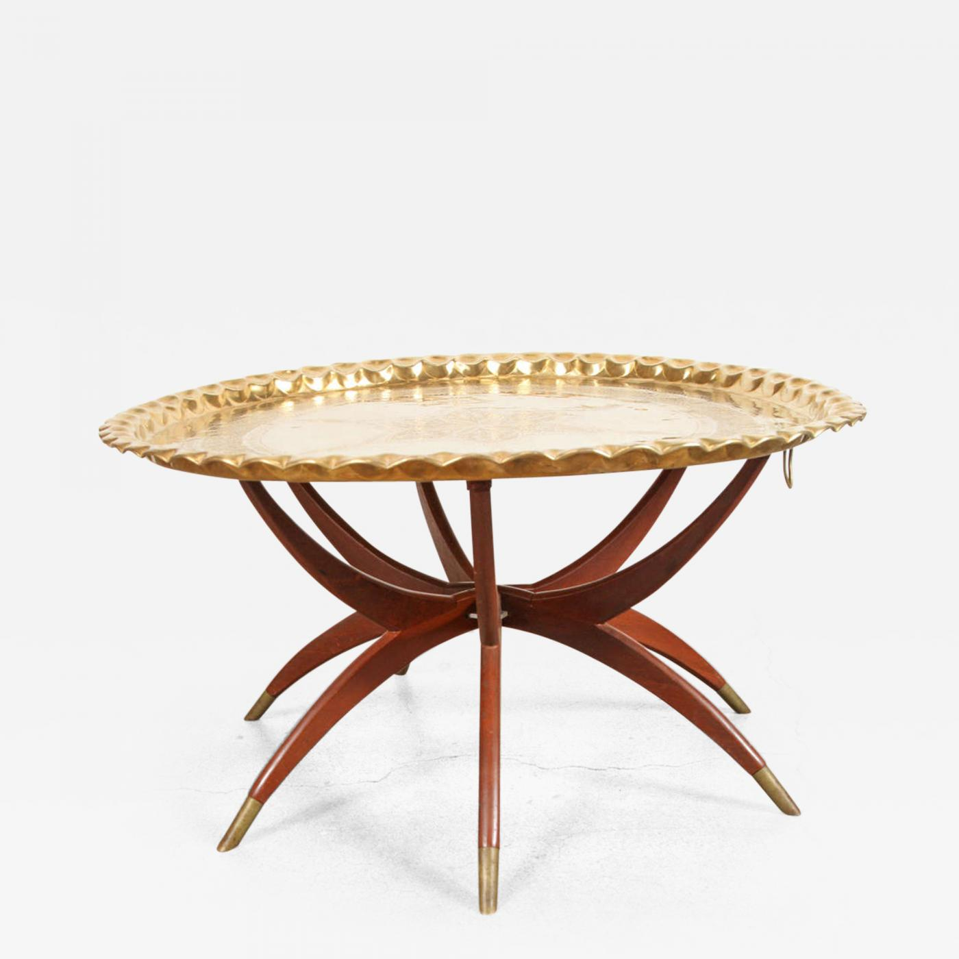 Charmant Listings / Furniture / Tables / Serving Tables · Moroccan Brass Tray Table  On Spider Folding Stand
