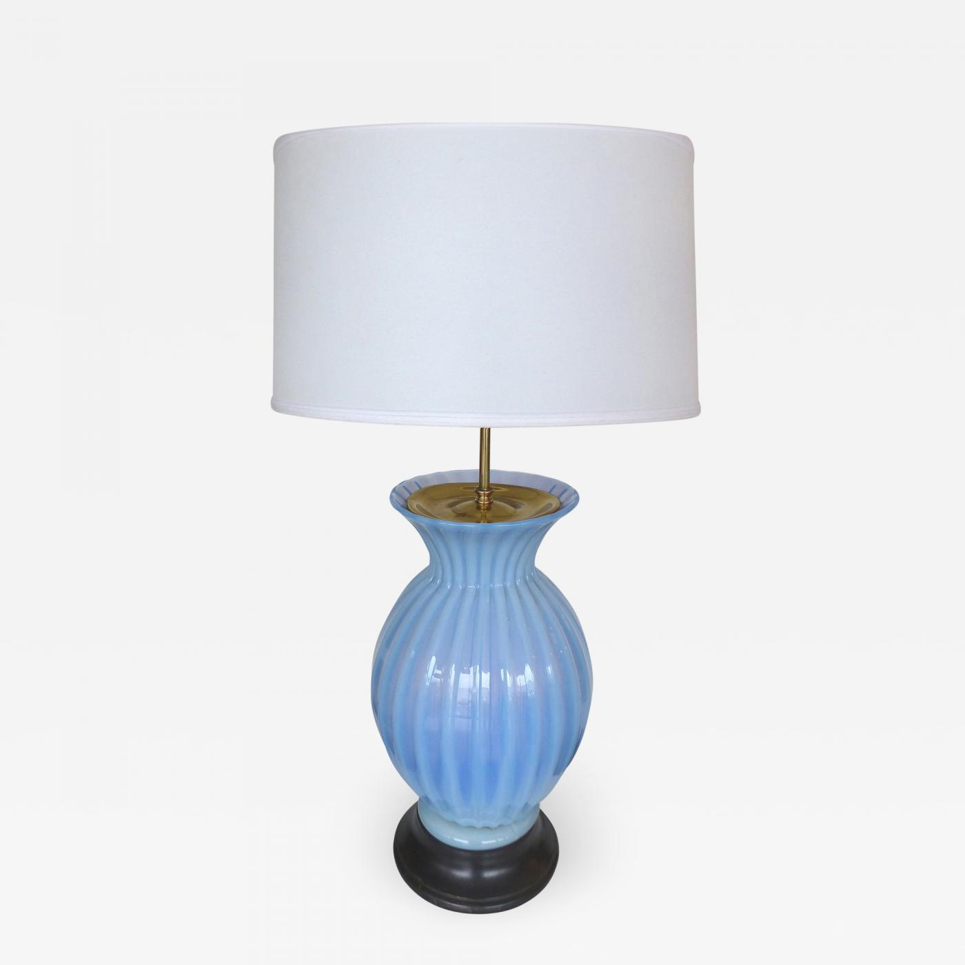 Image of: Marbro Lamp Company Mid Century Modern Blue Murano Glass Table Lamp By Marbro
