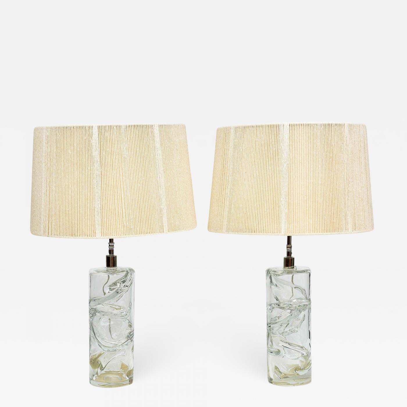 Picture of: Pair Italian Modern Hand Blown Glass Table Lamps Murano 1950s