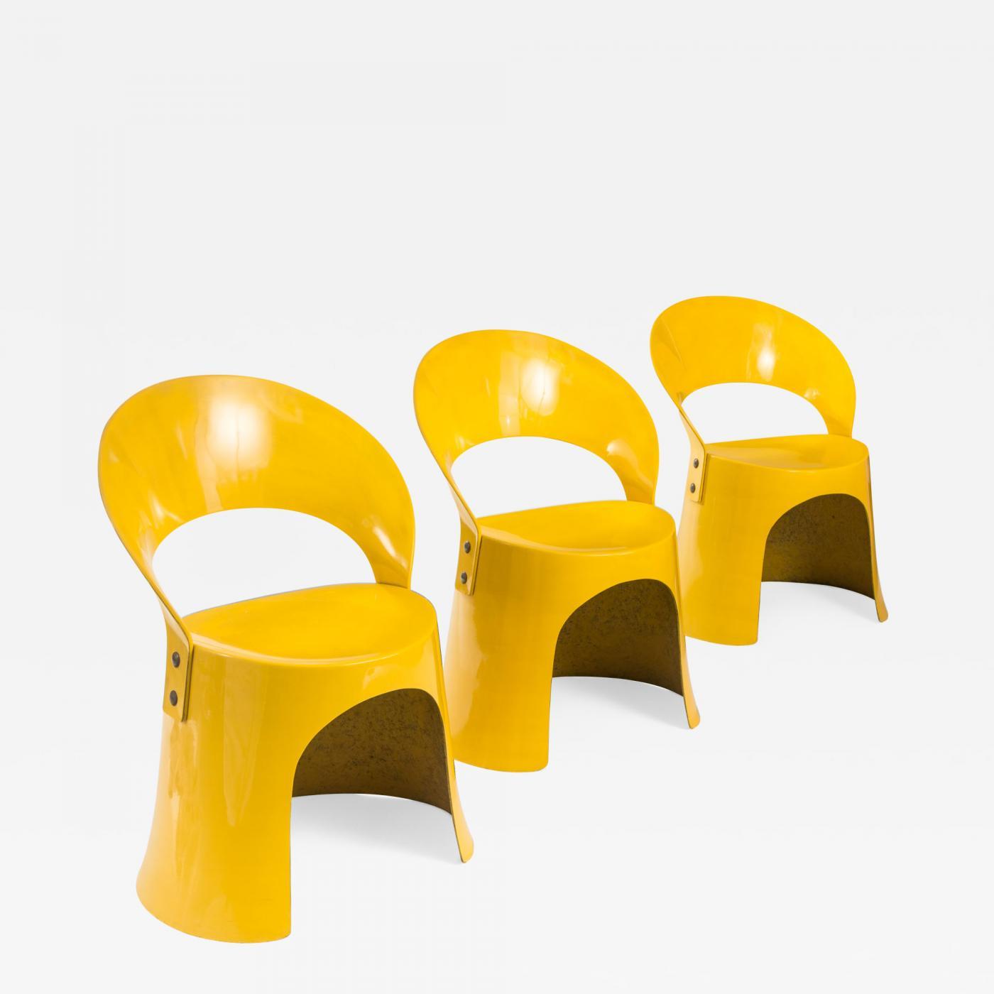 Nanna Ditzel Nanna Ditzel A Set of 3 Danish Yellow Fiberglass