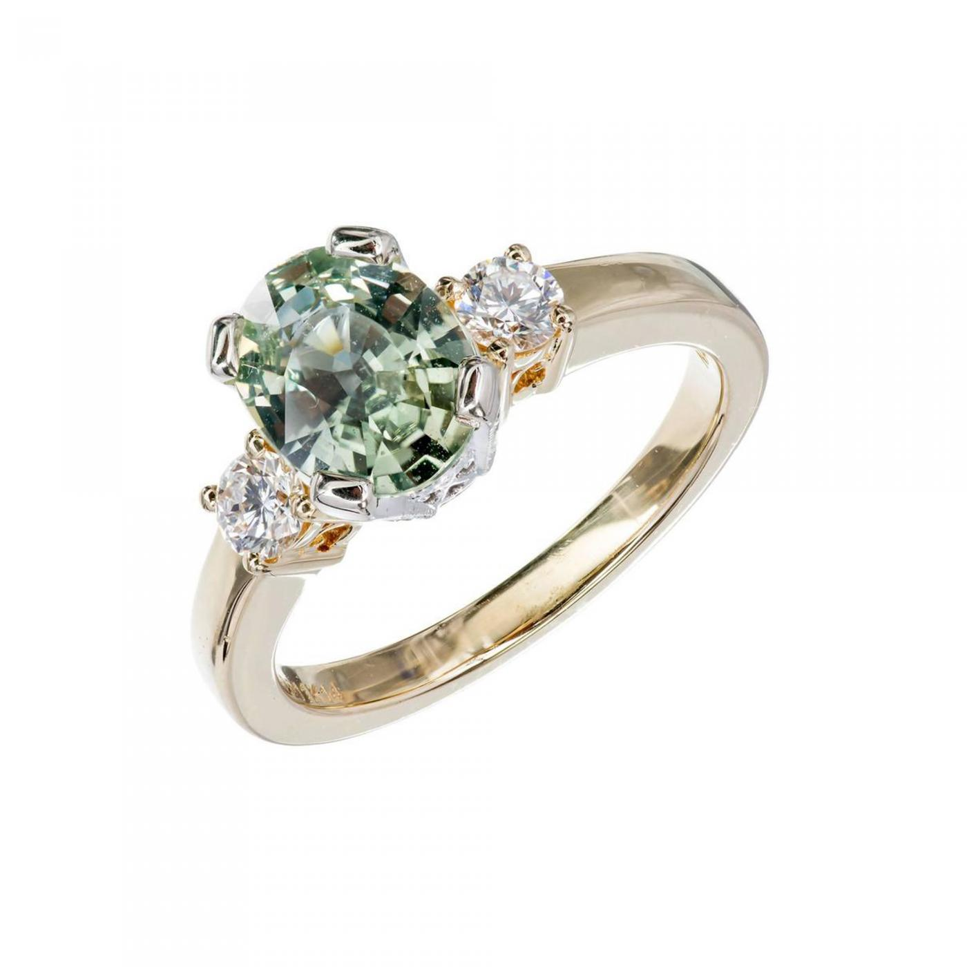 green engagement galleries rings emerald goldsmiths stone modern cut claw solitaire ring mccaul coloured gold rose