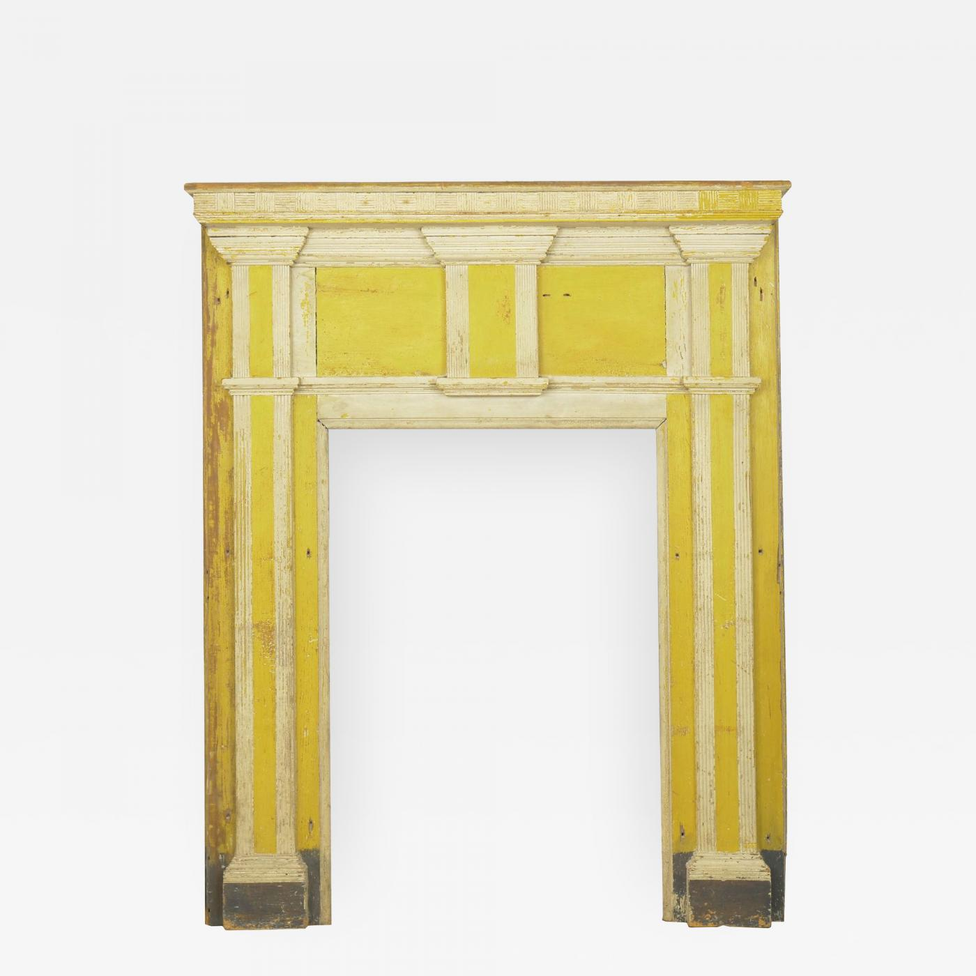 Fabulous Neoclassical Federal Antique Fireplace Surround Mantel In Yellow White Paint Interior Design Ideas Oxytryabchikinfo