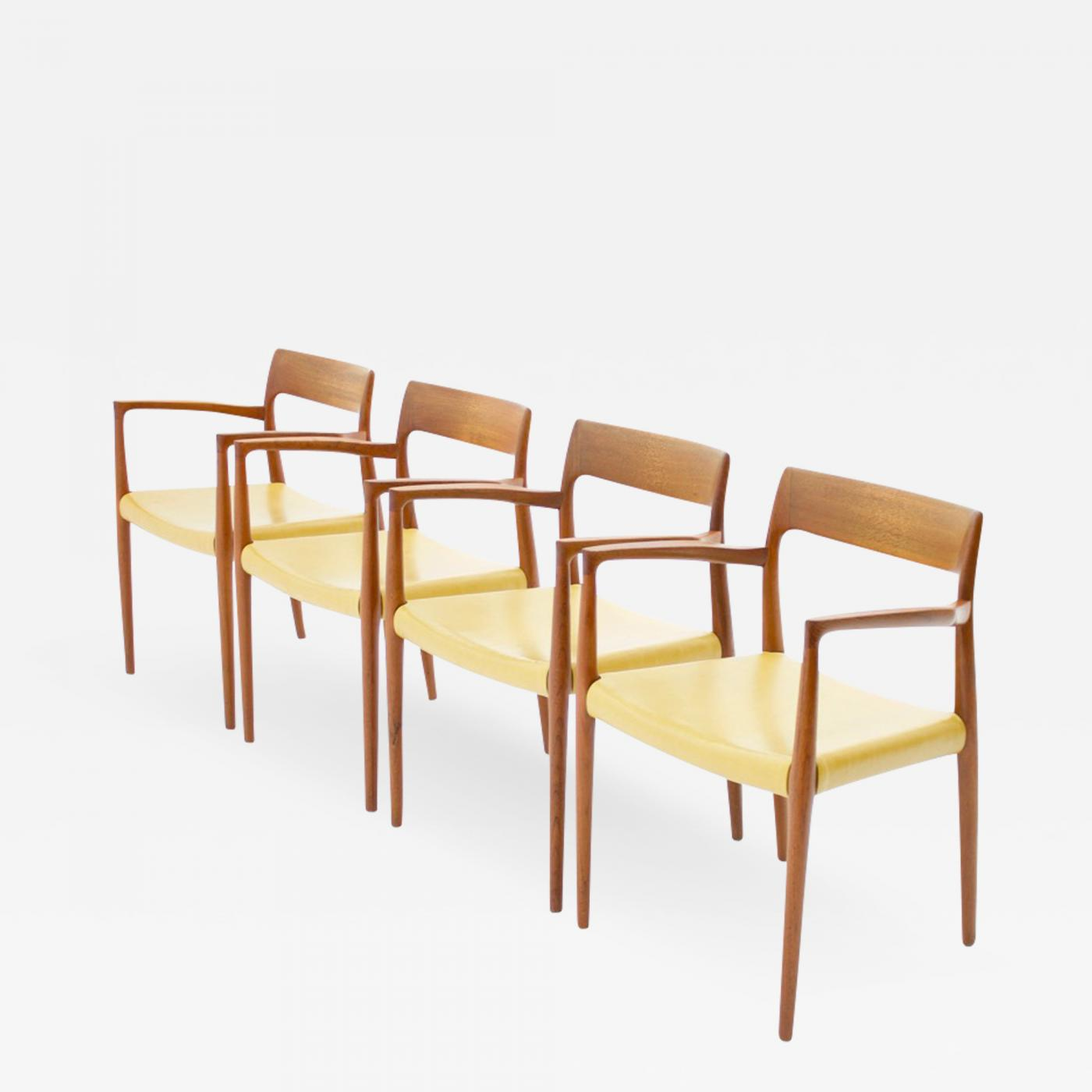 Højmoderne Niels Otto Møller - Set of For Niels O. Moller Teak Armchairs Model 57 YE-05