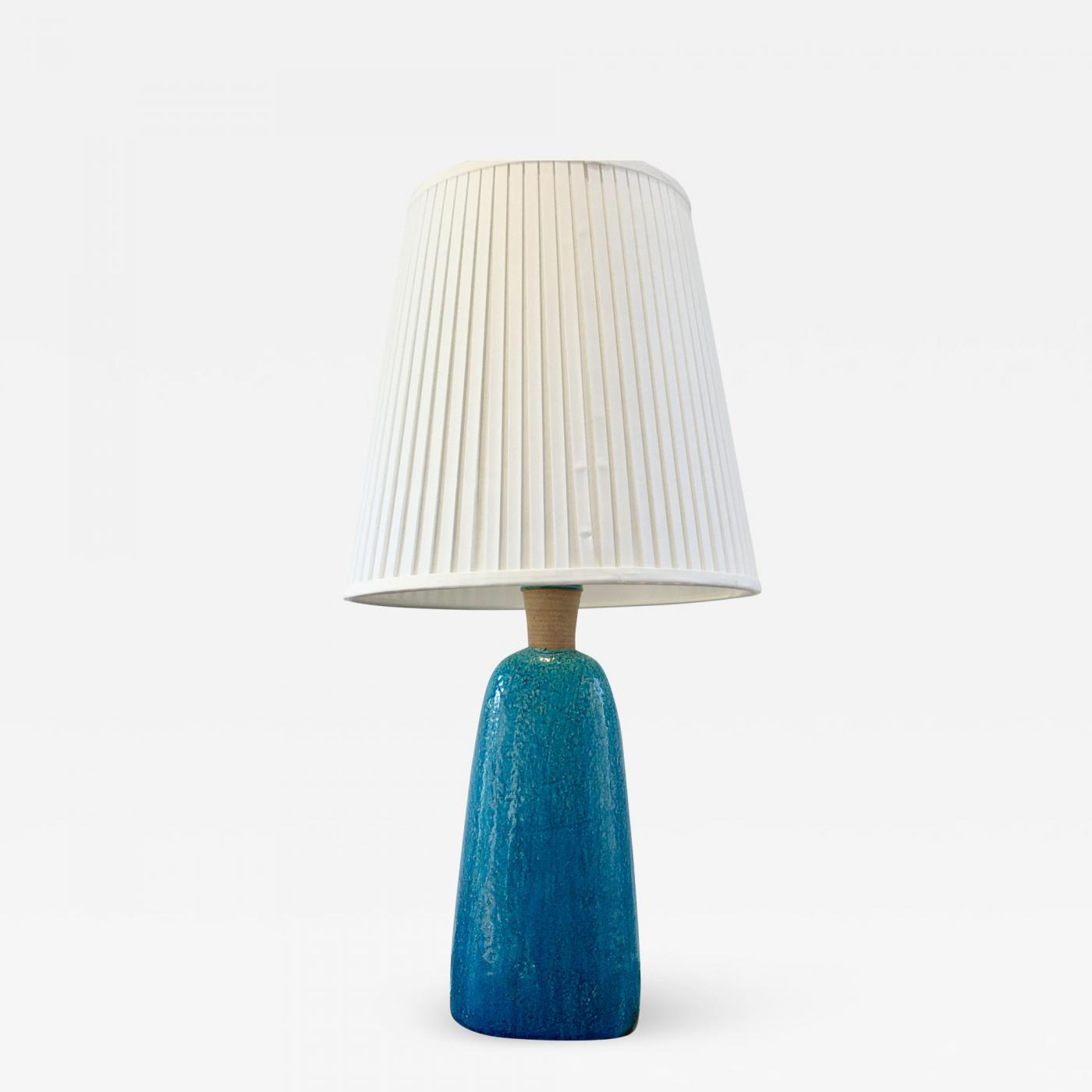 Nils Kahler Large 1950s Turquoise Midcentury Table Lamp By Nils