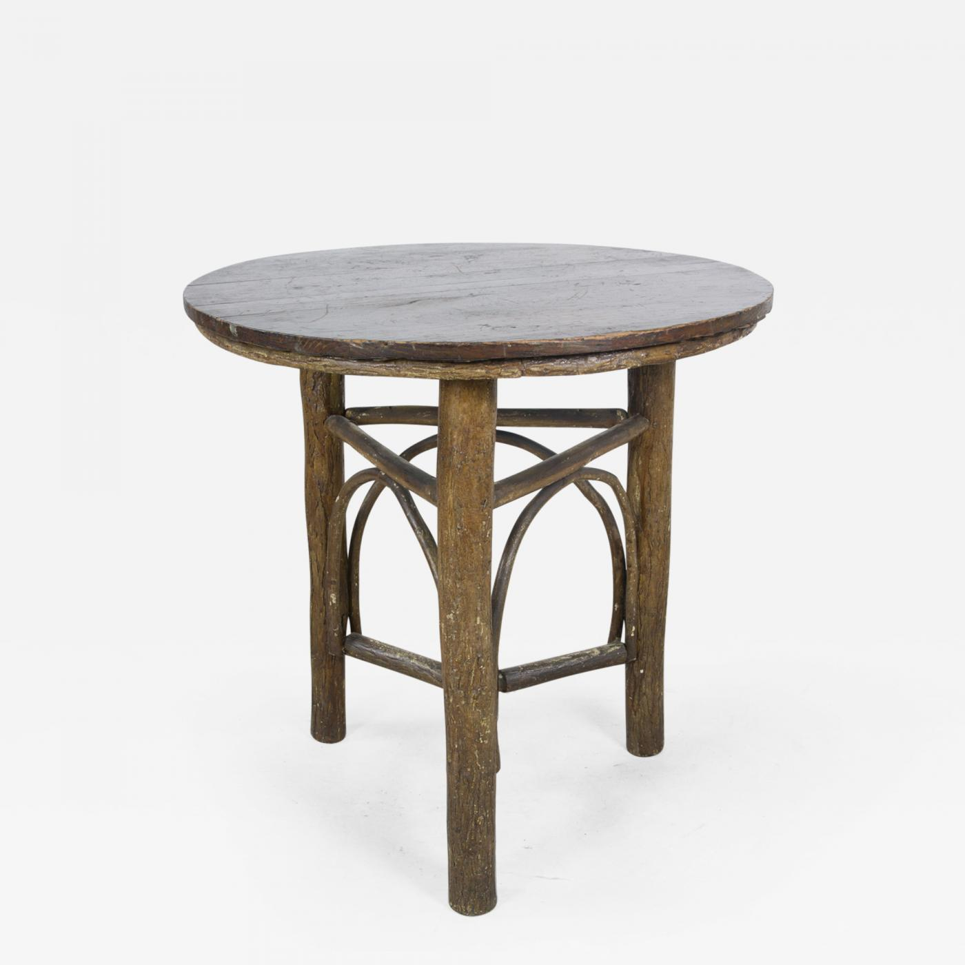 Old Hickory Three Legged Round Table