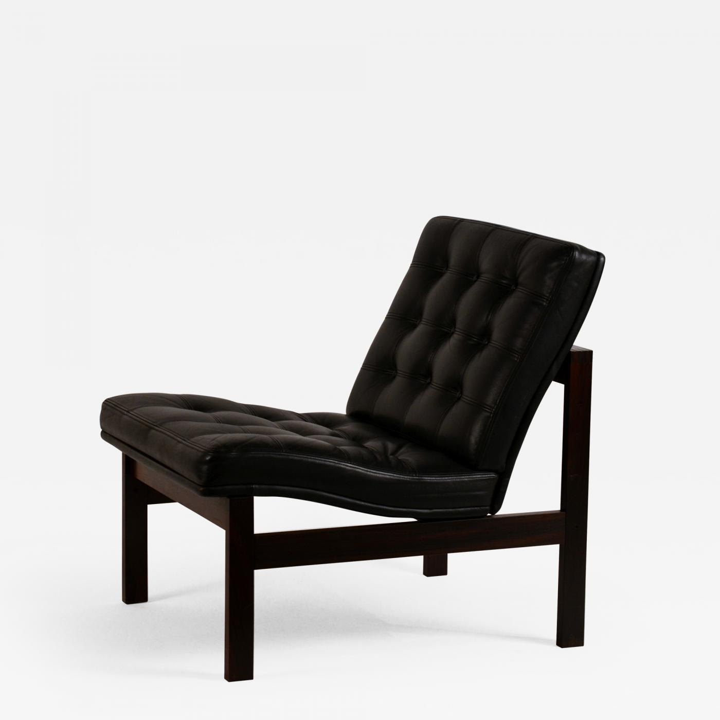 Fabulous Ole Gjerlov Knudsen Impeccable Black Leather Slipper Chair By Ole Gjerlov Knudsen For France Son Ibusinesslaw Wood Chair Design Ideas Ibusinesslaworg