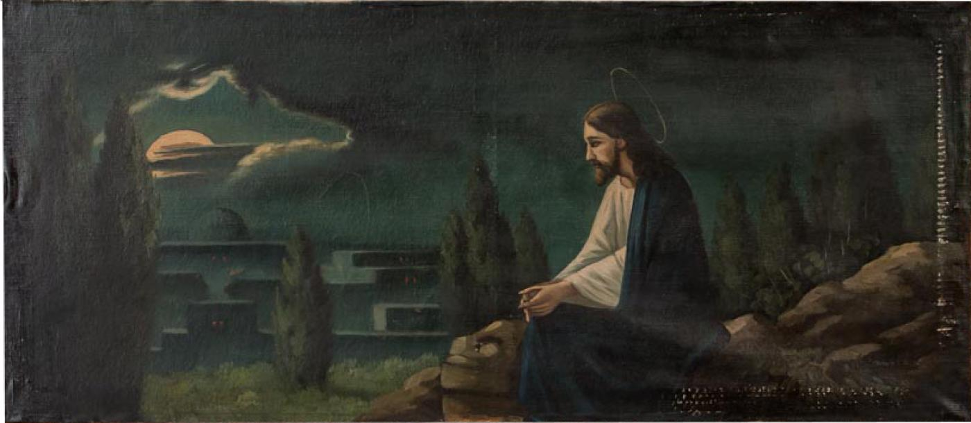 Original Oil On Canvas Painting Of Jesus Praying In A Garden