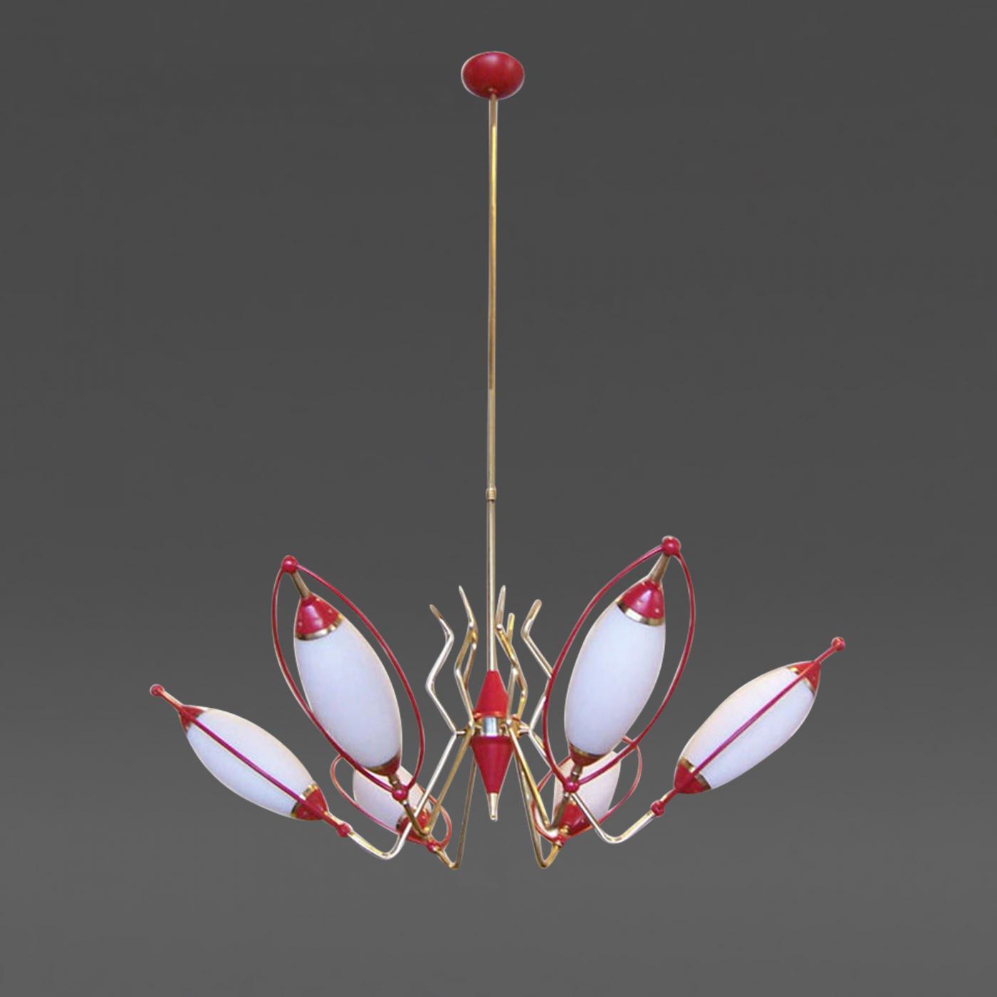 Oscar torlasco oscar torlasco six light red and white cone chandelier listings furniture lighting chandeliers and pendants arubaitofo Choice Image