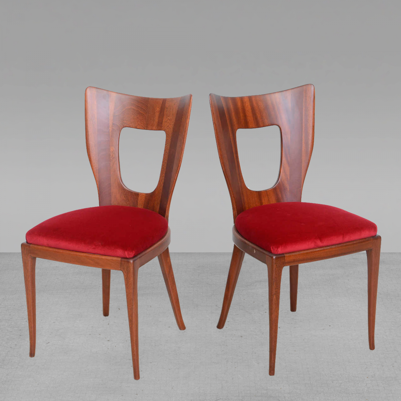 Osvaldo Borsani Set of 12 Italian Modern Walnut Dining Chairs