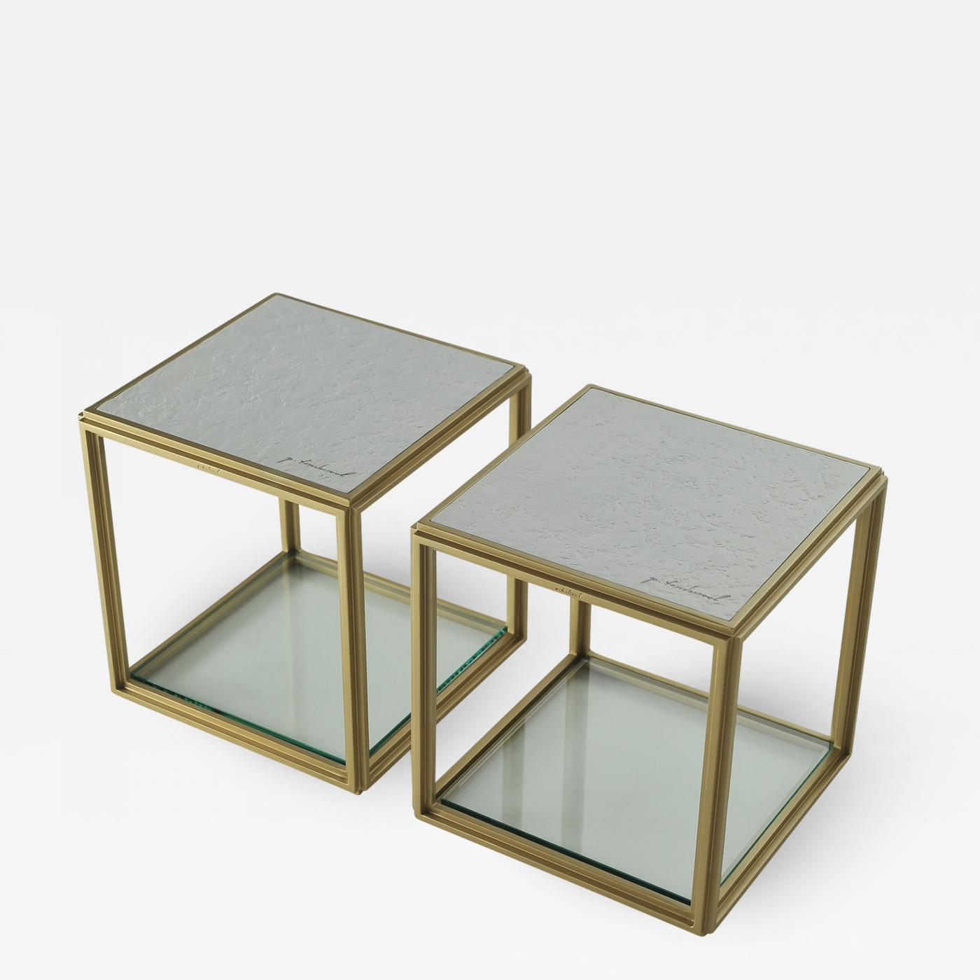 Collection Of Two Modular Brass Low Tables, Sandcast Aluminum Textured  White Top