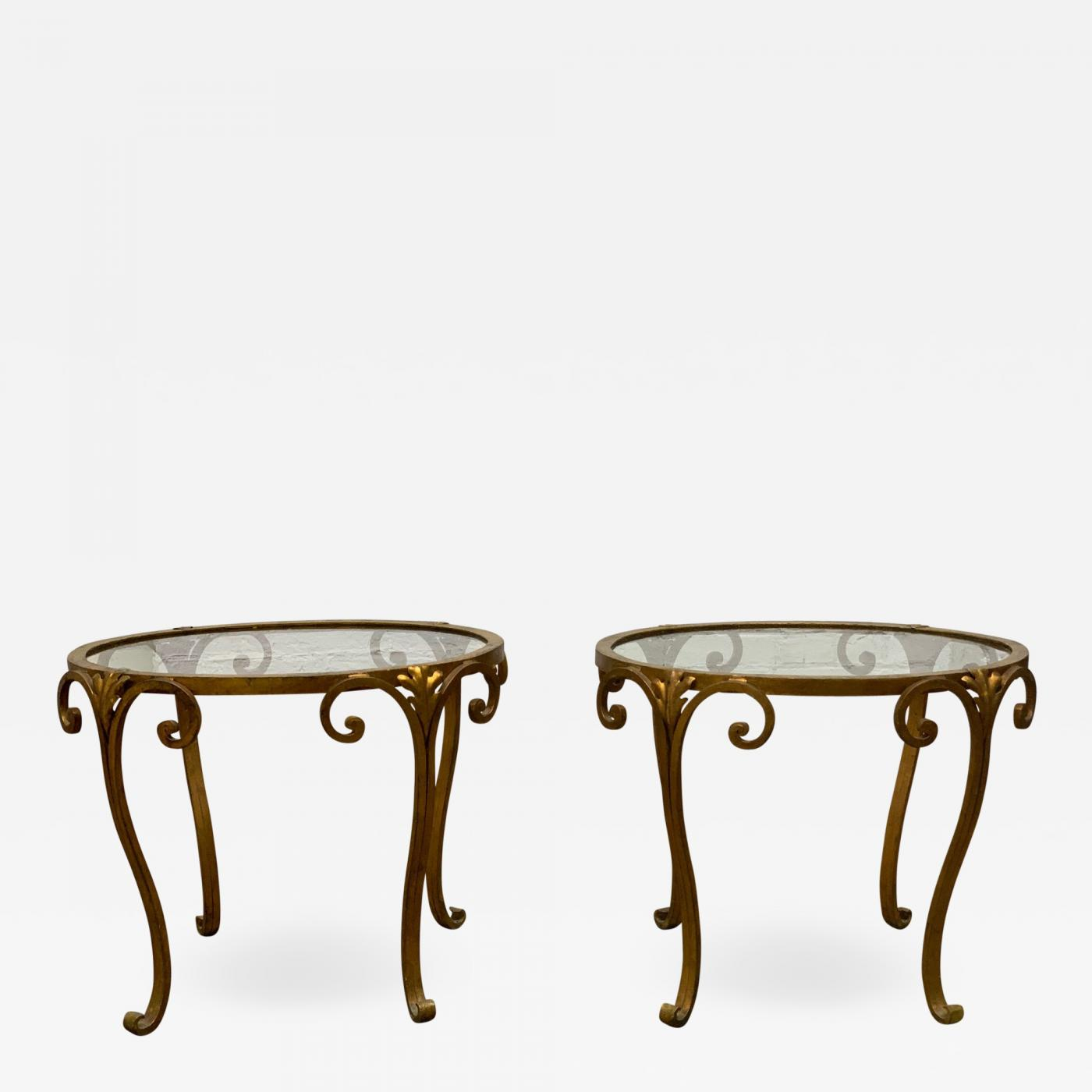 Pair 1950s French Gilt Wrought Iron Glass Top Side Tables