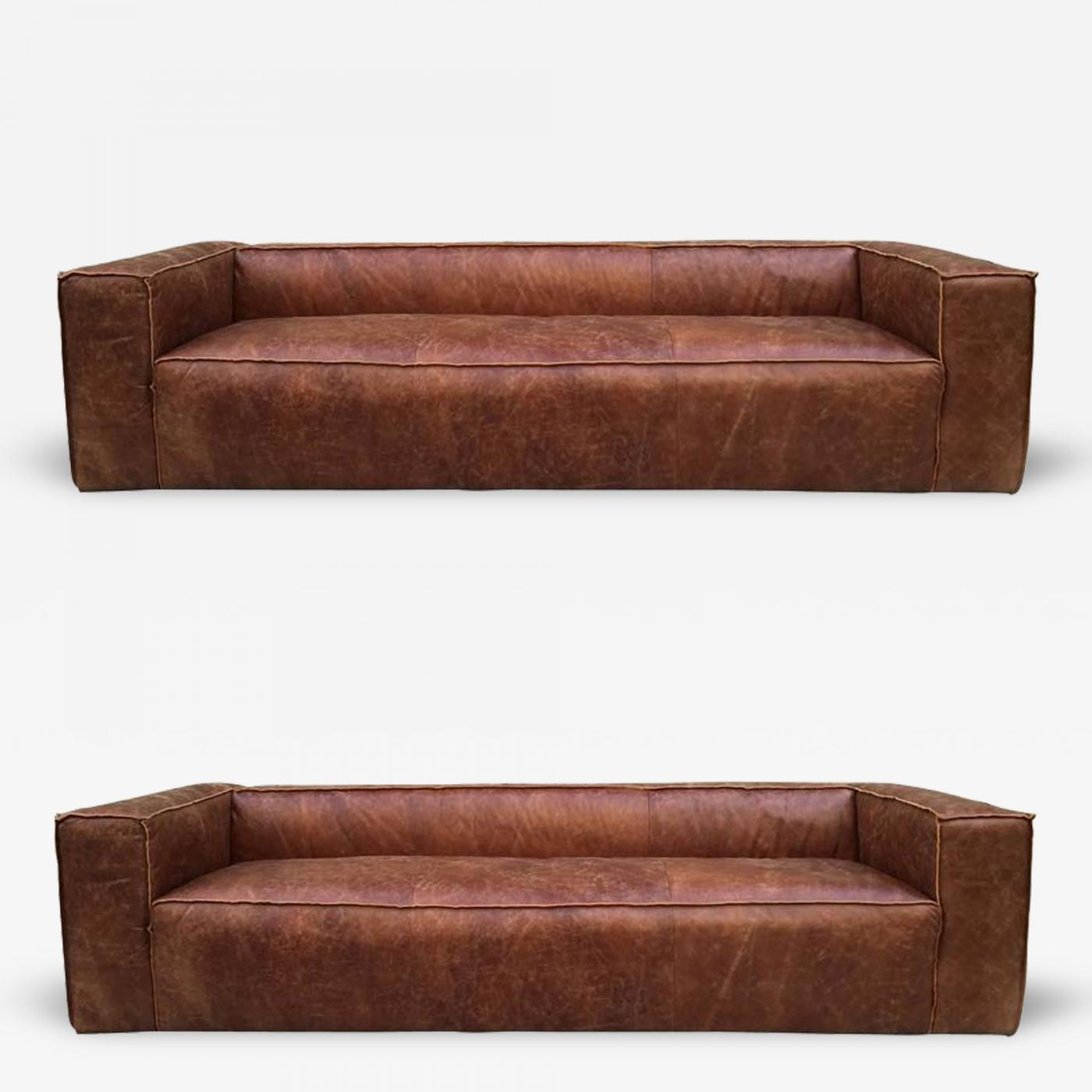 Awesome Pair 9 Ft Contemporary Distressed Leather Sofas Spiritservingveterans Wood Chair Design Ideas Spiritservingveteransorg