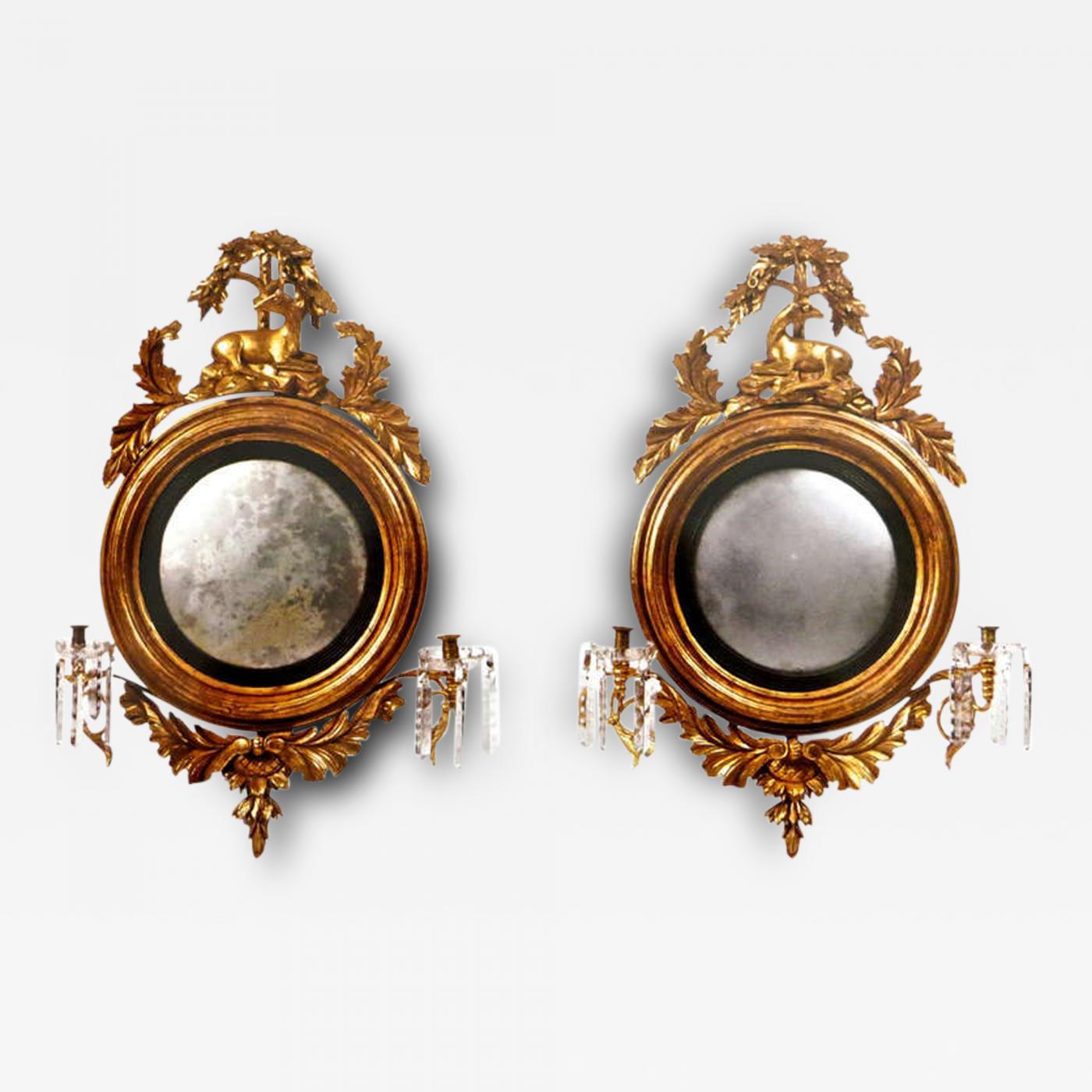 """Convex Wall Mirror pair georgian carved """"stag"""" gilt wood convex mirrors, circa 1820"""