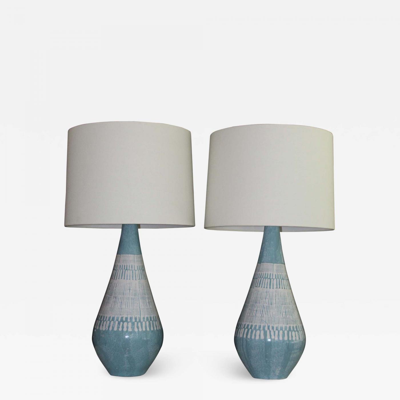 Bitossi Style Mid Century Modern Table Lamps With Embossed Ceramic Base