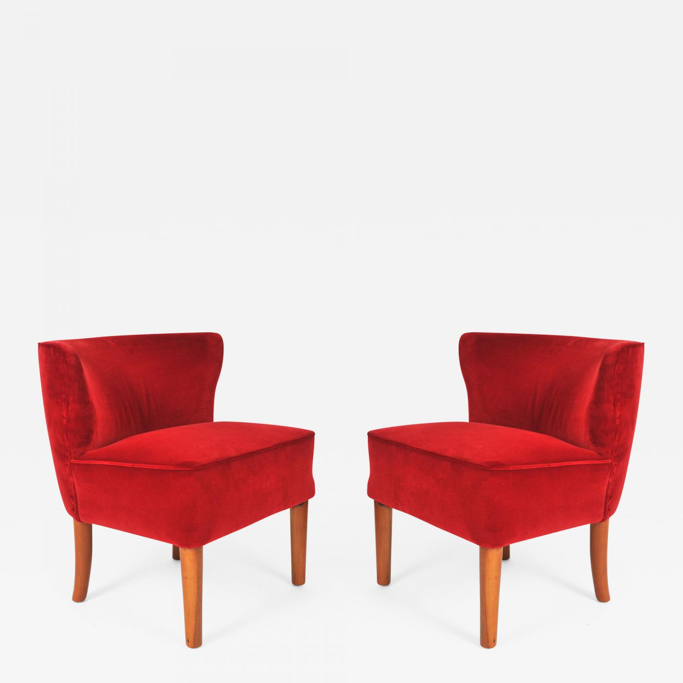 1950s Accent Chairs.Pair Of 1950s Italian Red Occasional Chairs