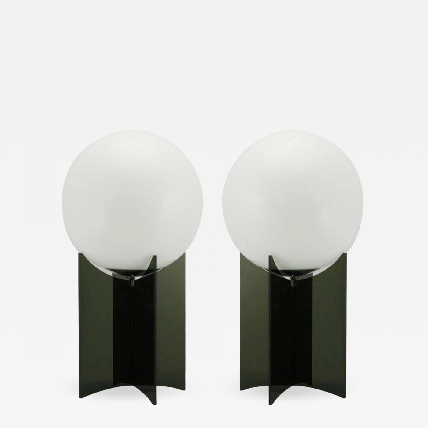 Pair Of 30 Tall X 9 Diameter Smoked Acrylic And Milk Glass Table