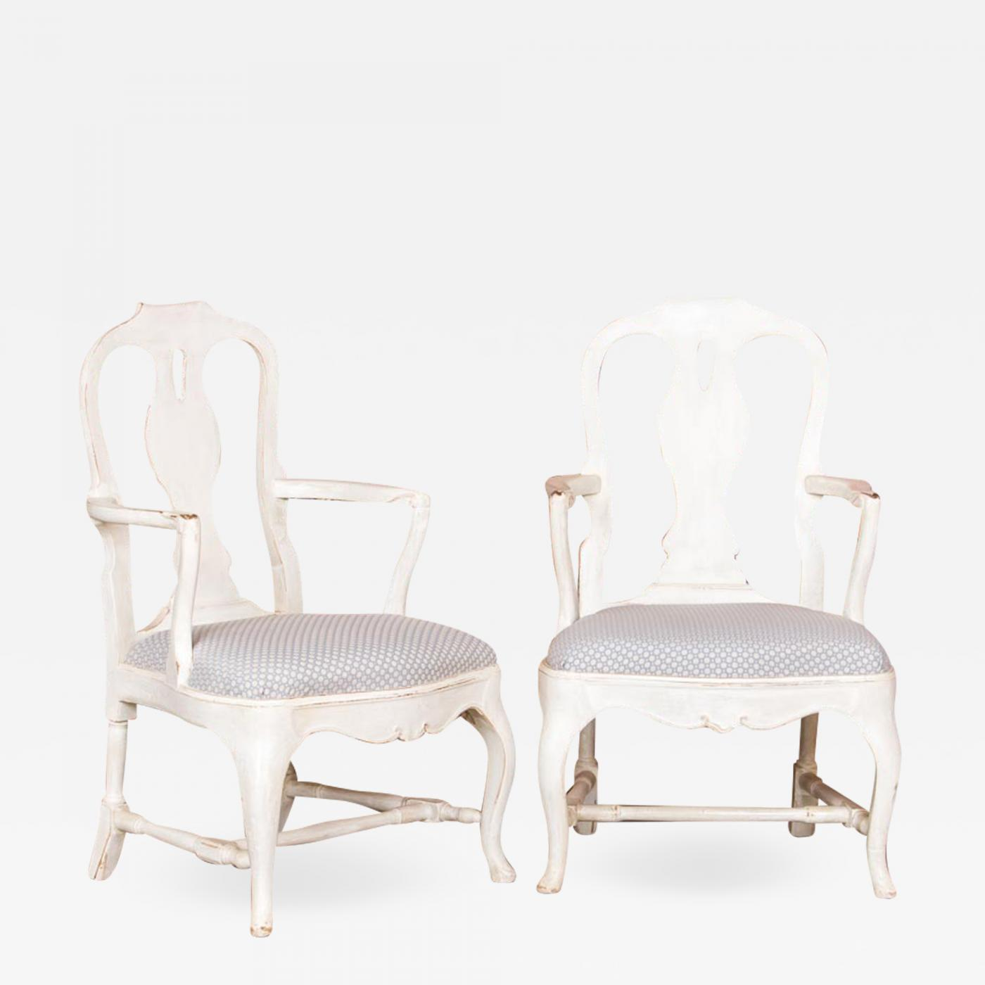 Prime Pair Of Antique White Country Rococo Armchairs From Sweden Pabps2019 Chair Design Images Pabps2019Com