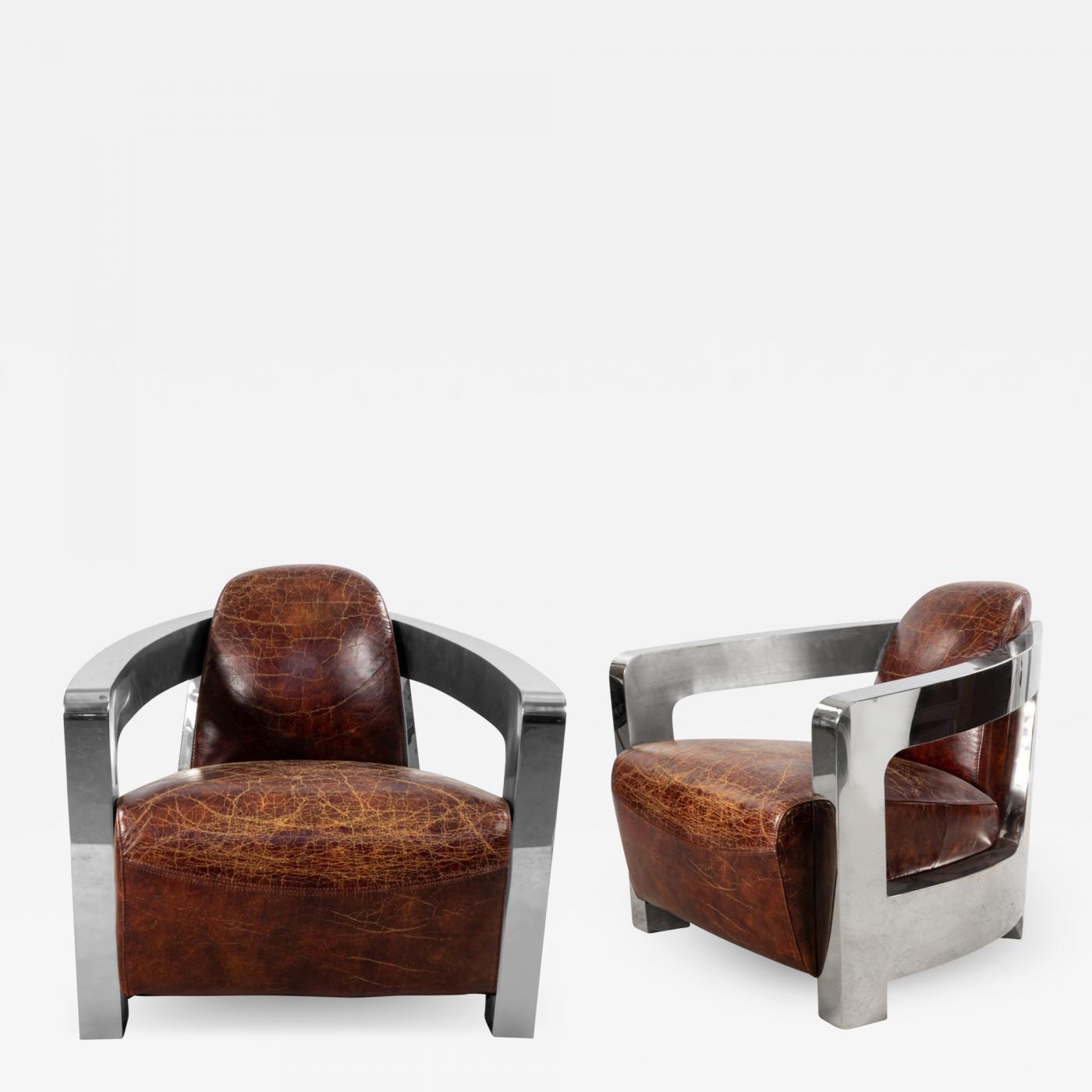Pair Of Art Deco Style Leather And Chrome Aviator Lounge Chairs