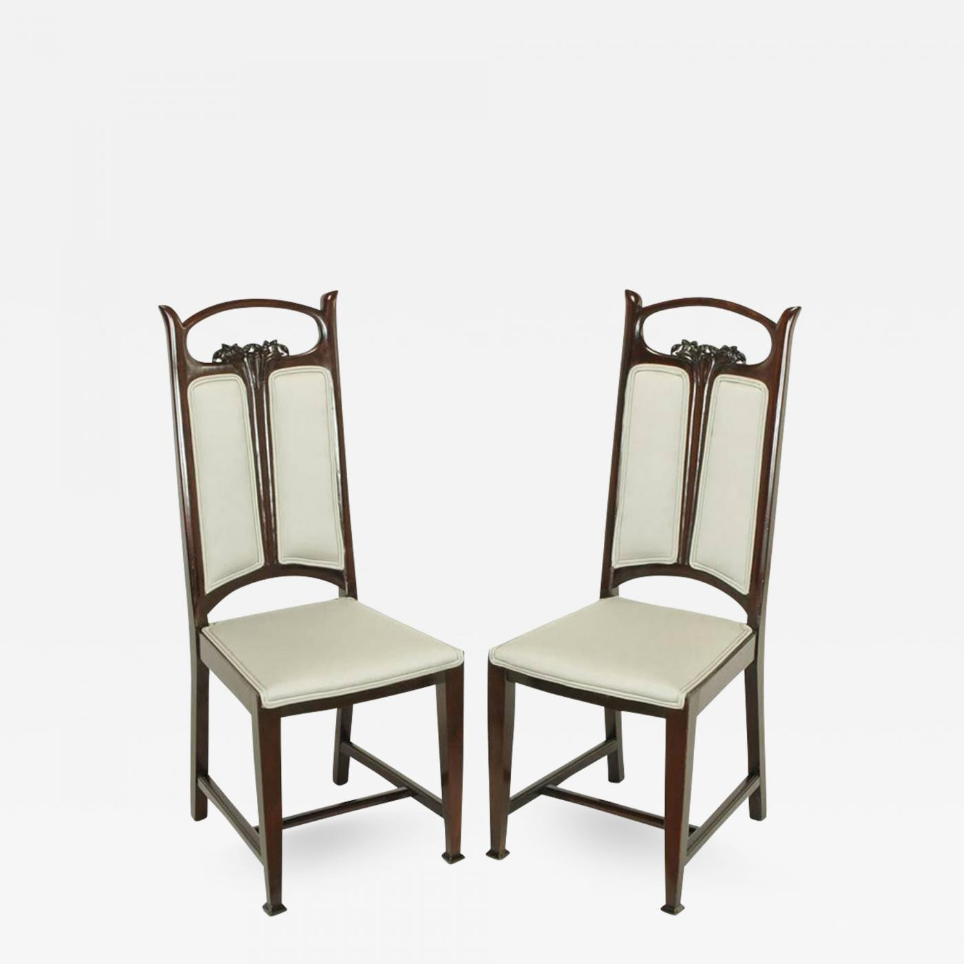 Pair Of Art Nouveau Mahogany Side Chairs With Dove Grey Wool