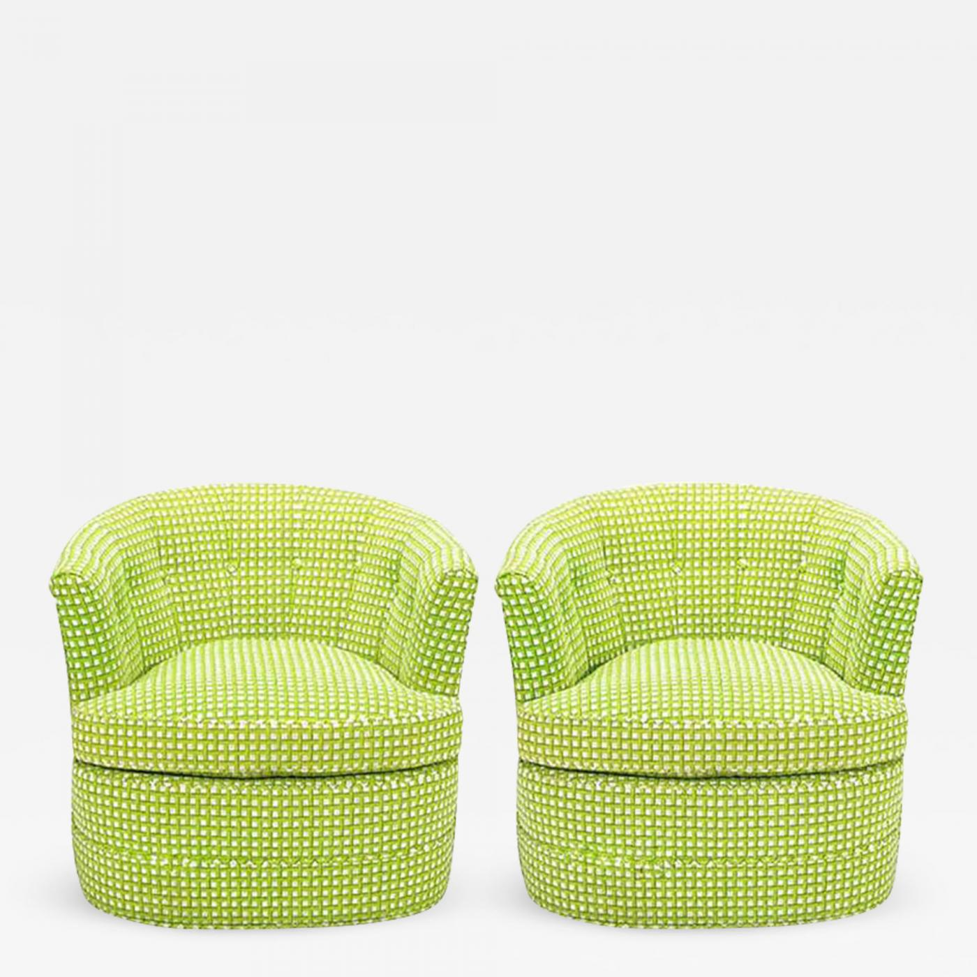 Listings / Furniture / Seating / Club Chairs · Pair Of Barrel Back Swivel  ...