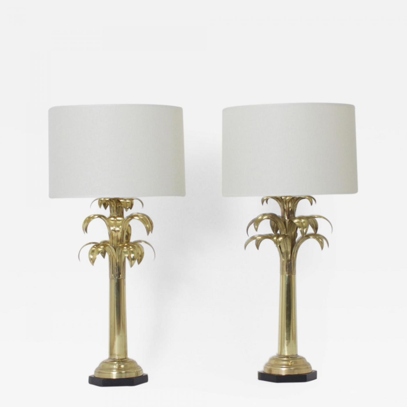 Pair of brass palm tree table lamps listings furniture lighting table lamps geotapseo Image collections