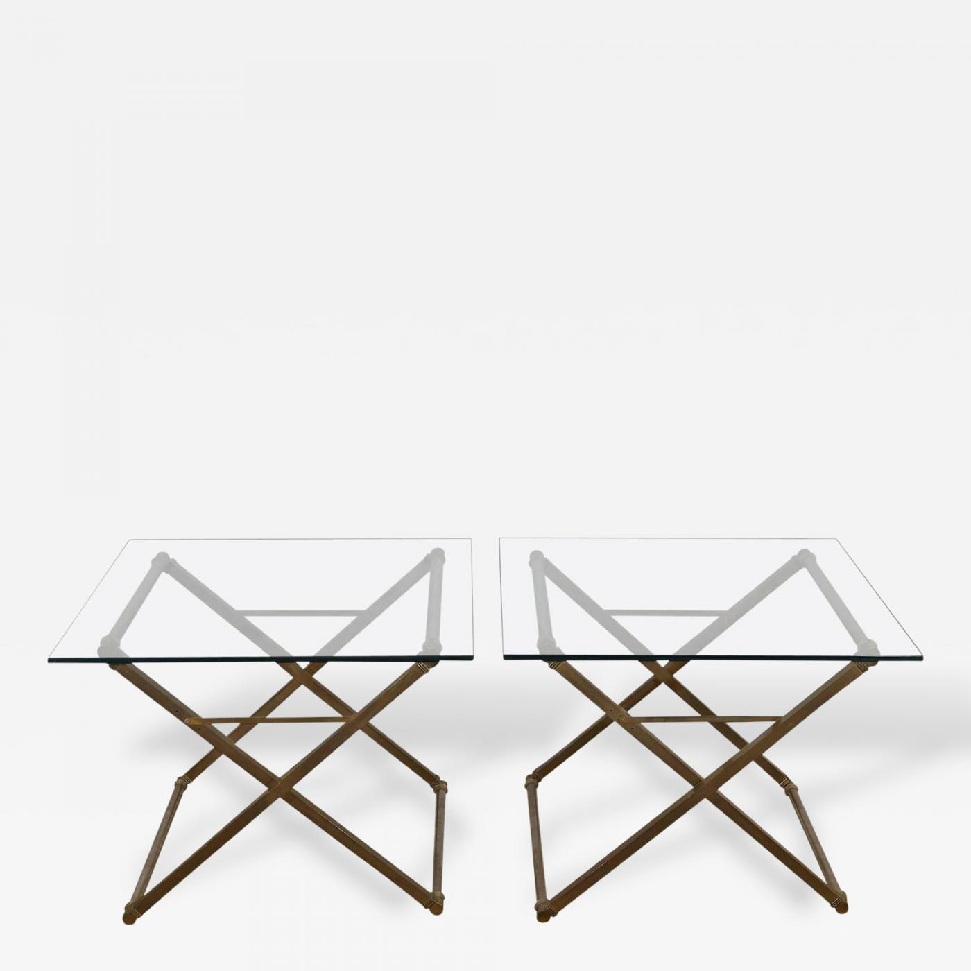 Pair of Bronze and Steel X Form Coffee Tables with Glass Top