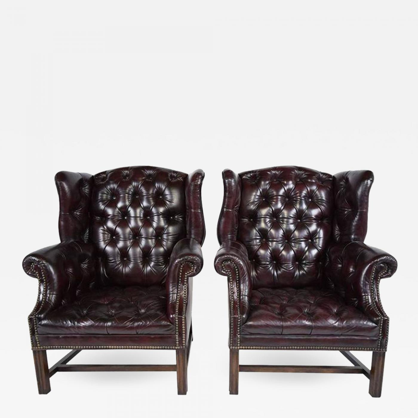 Listings / Furniture / Seating / Wingback Chairs · Pair of Chesterfield Tufted Leather Wingback Chairs & Pair of Chesterfield Tufted Leather Wingback Chairs